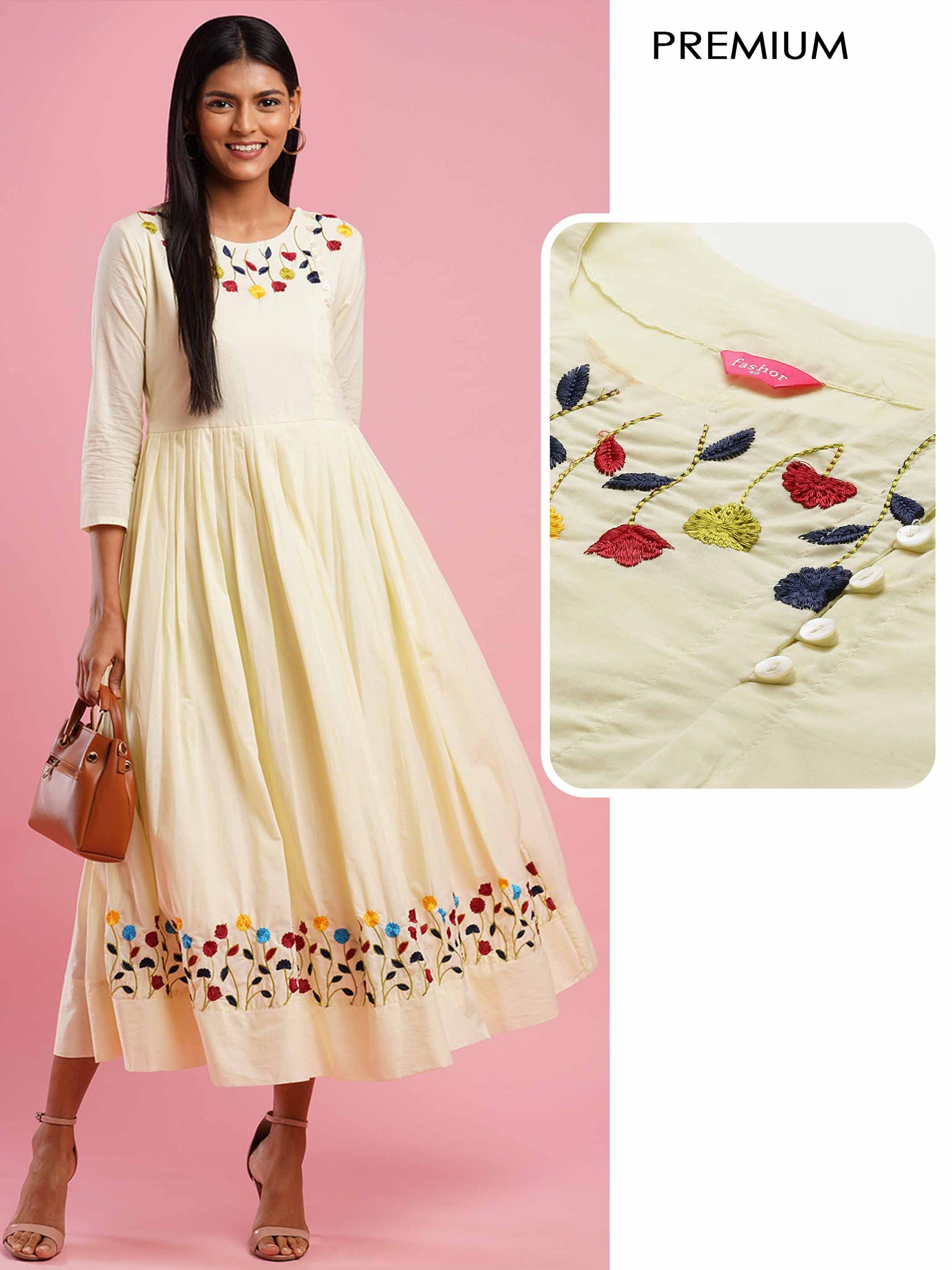 Floral Embroidered Pleated Flare Maxi Dress - Light Yellow