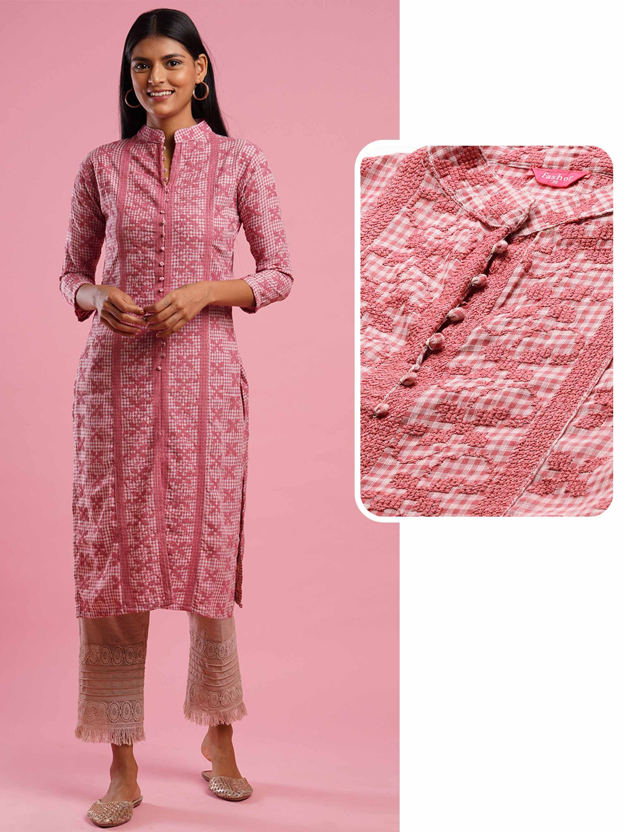Woven Checks & Dense embroidered Straight Kurta - Pink