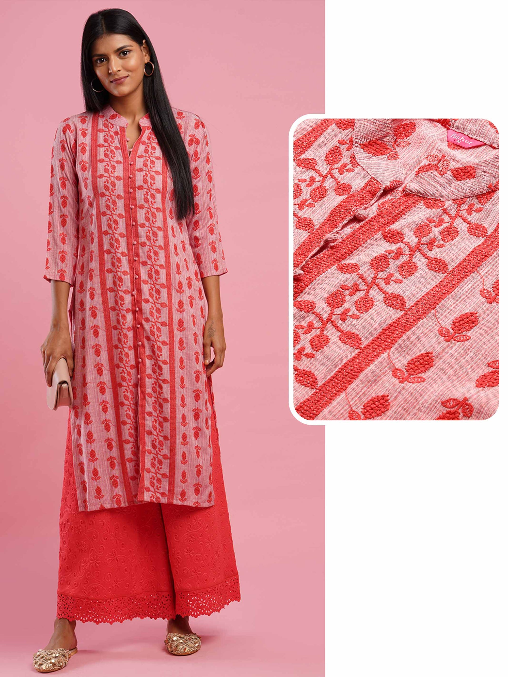 Dense Floral embroidered Straight Kurta - Red