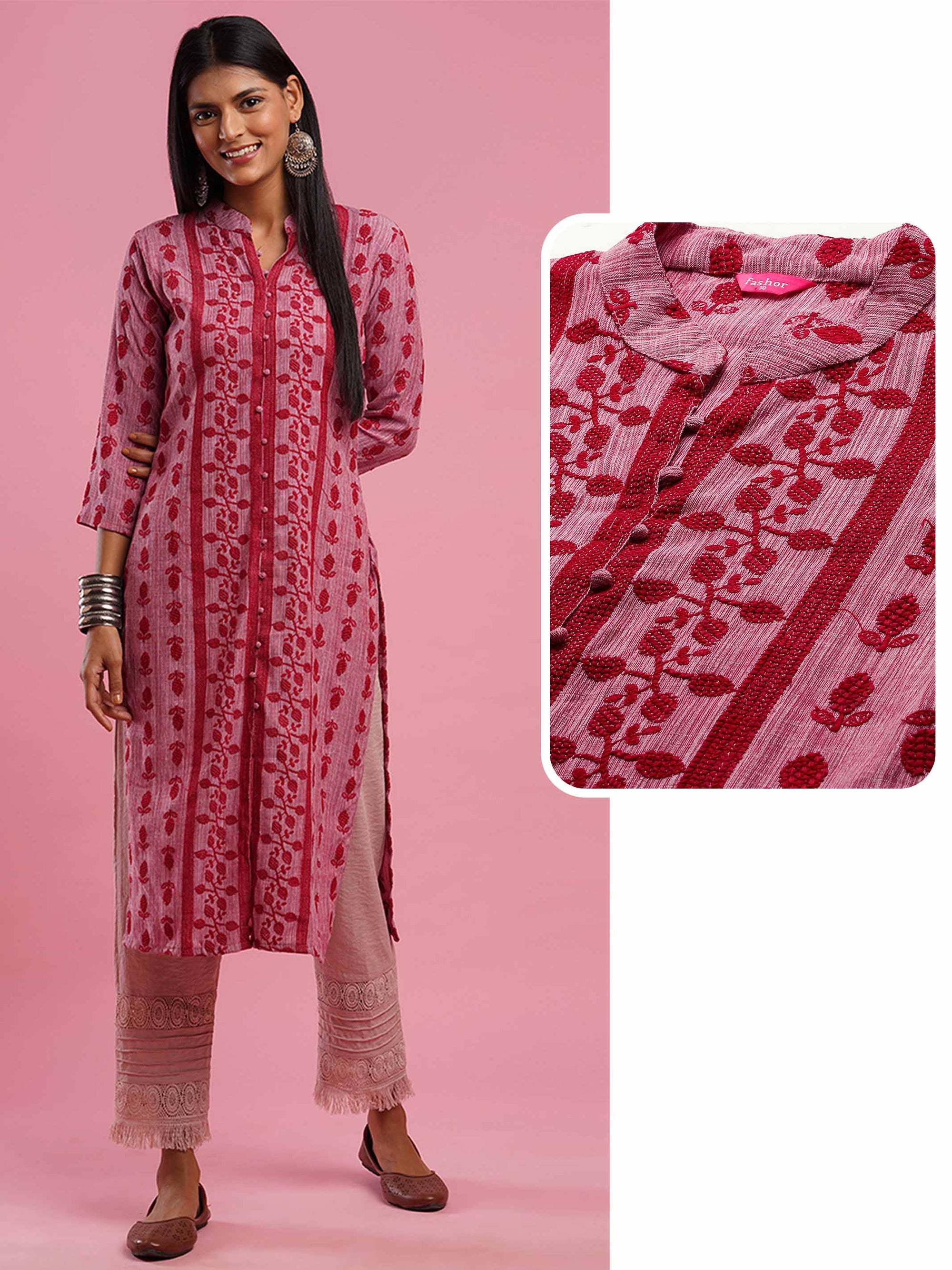 Dense Ethnic embroidered Straight Kurta - Dark Pink