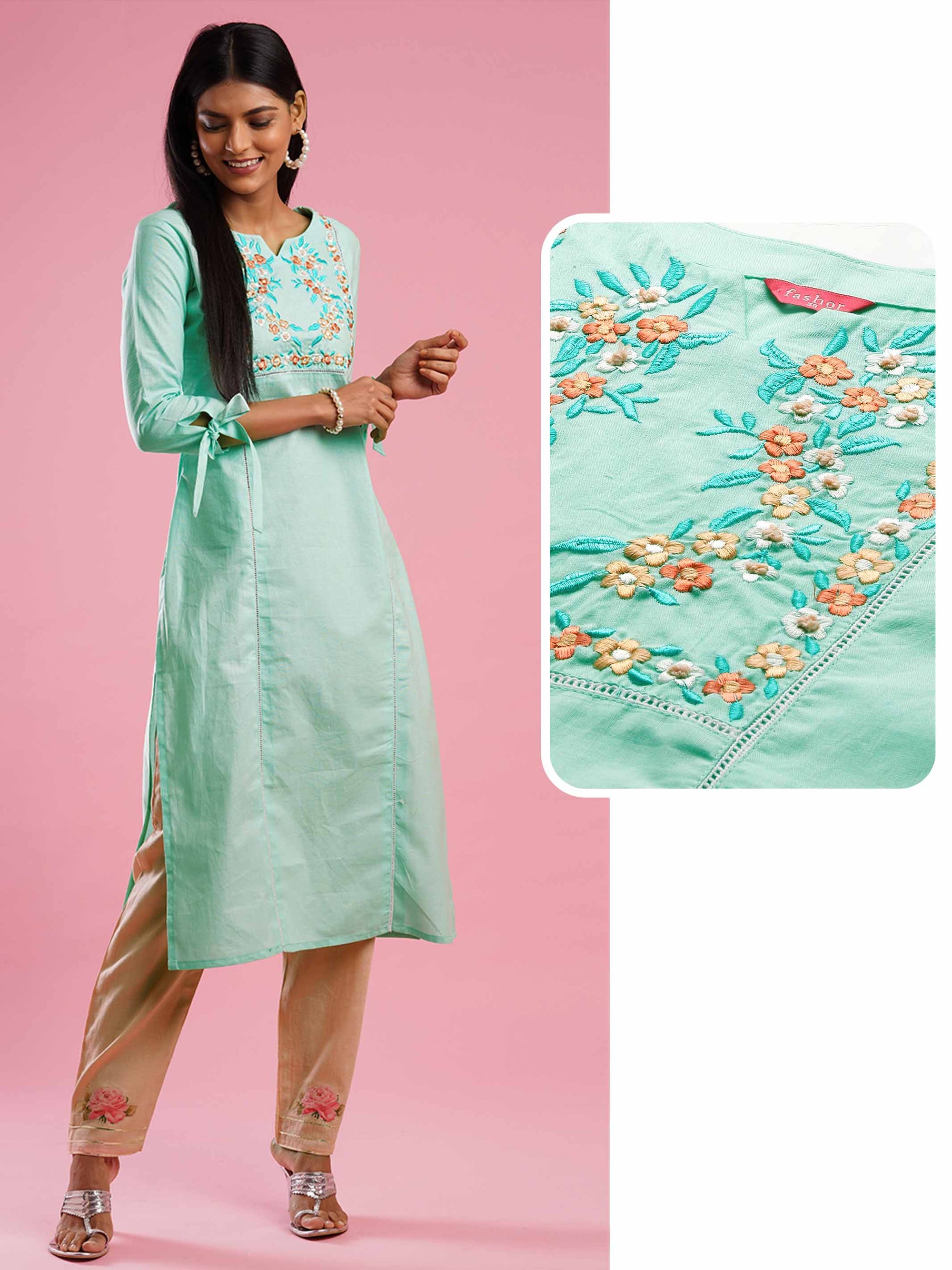 Floral Embroidered Yoke Straight Kurta - Mint Green
