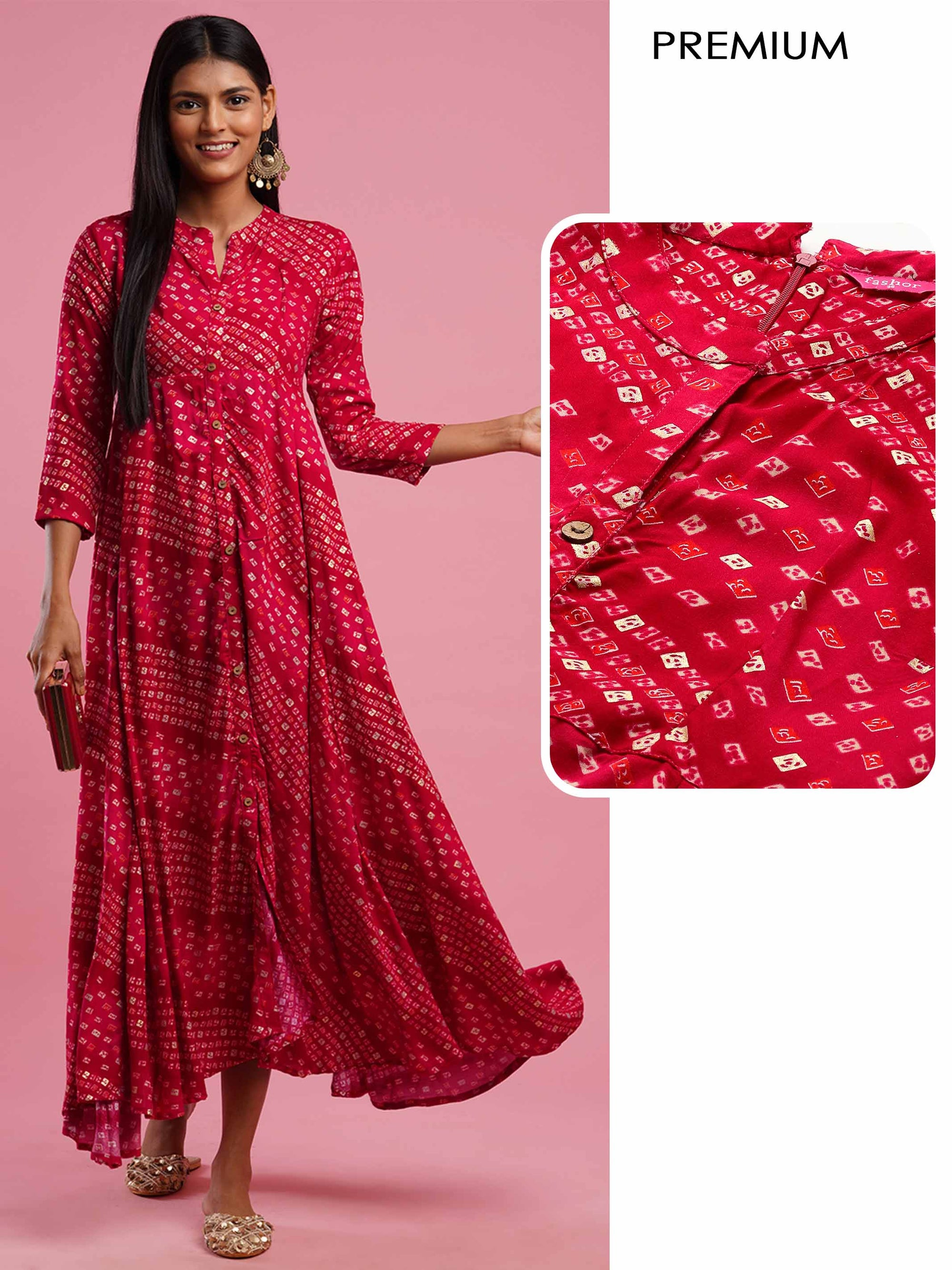 Bandhani Foil Printed Flared Maxi Dress - Cherry Red
