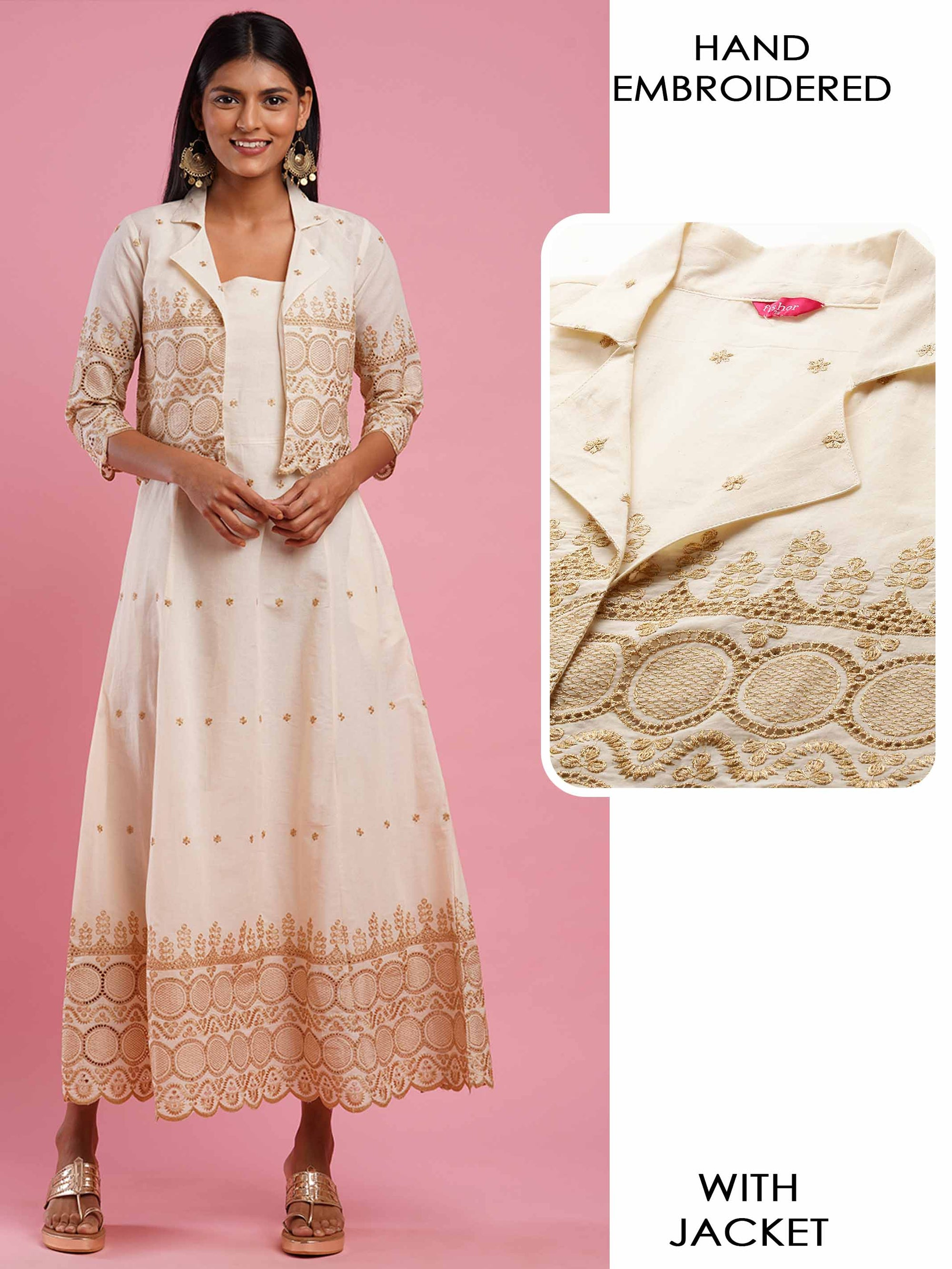 Zari Embroidered & Cut-Work A-Line Kurta with Zari Embroidered Scallop Jacket - Off White