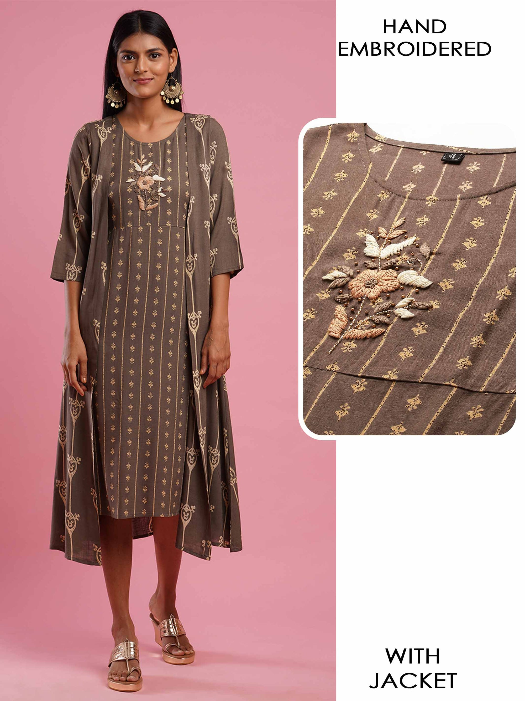 Ethnic Printed & Floral Hand Embroidered Kurta with Printed Long Jacket- Dusty Grey