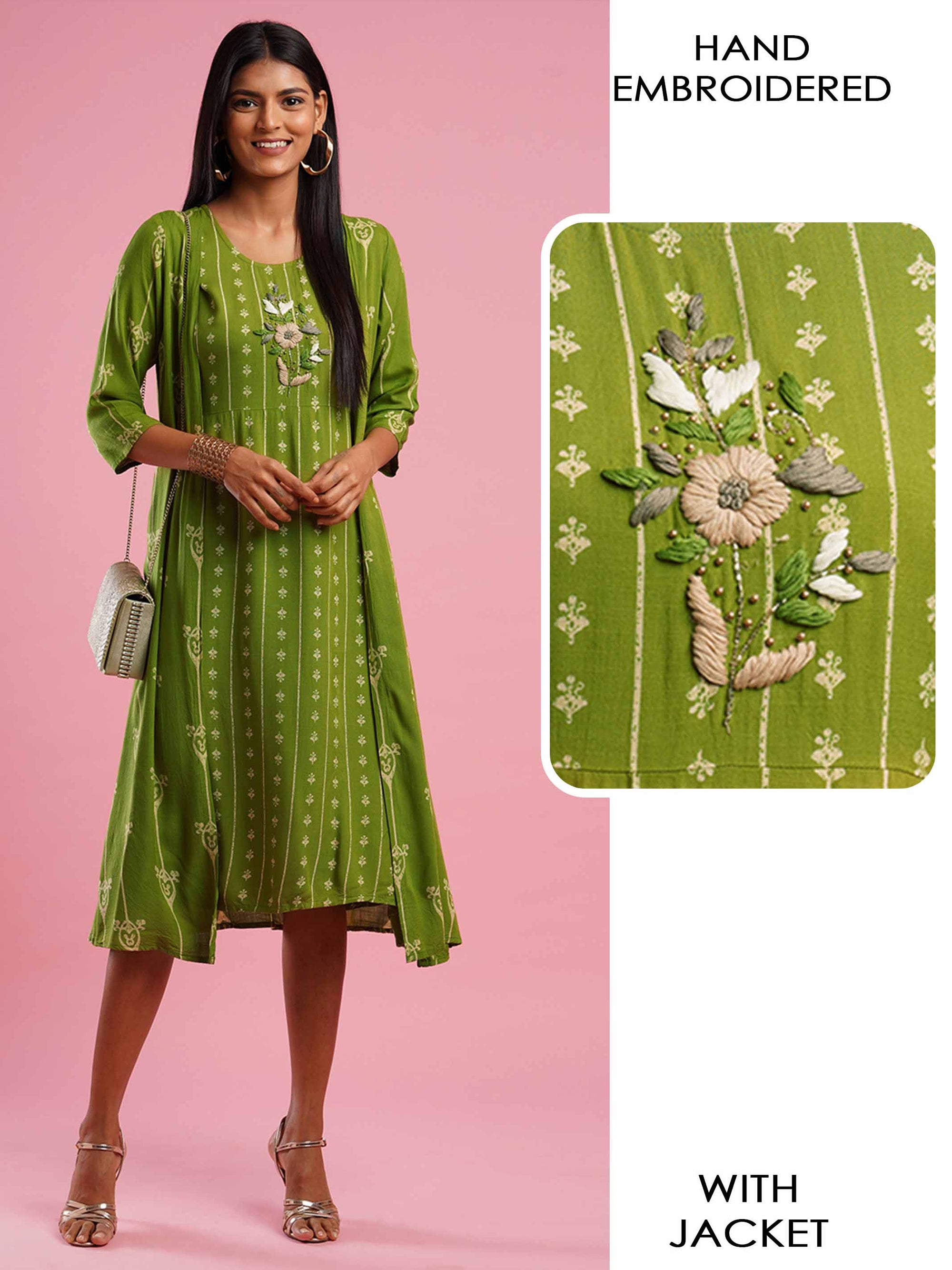 Ethnic Printed & Floral Hand Embroidered Kurta with Printed Long Jacket - Green