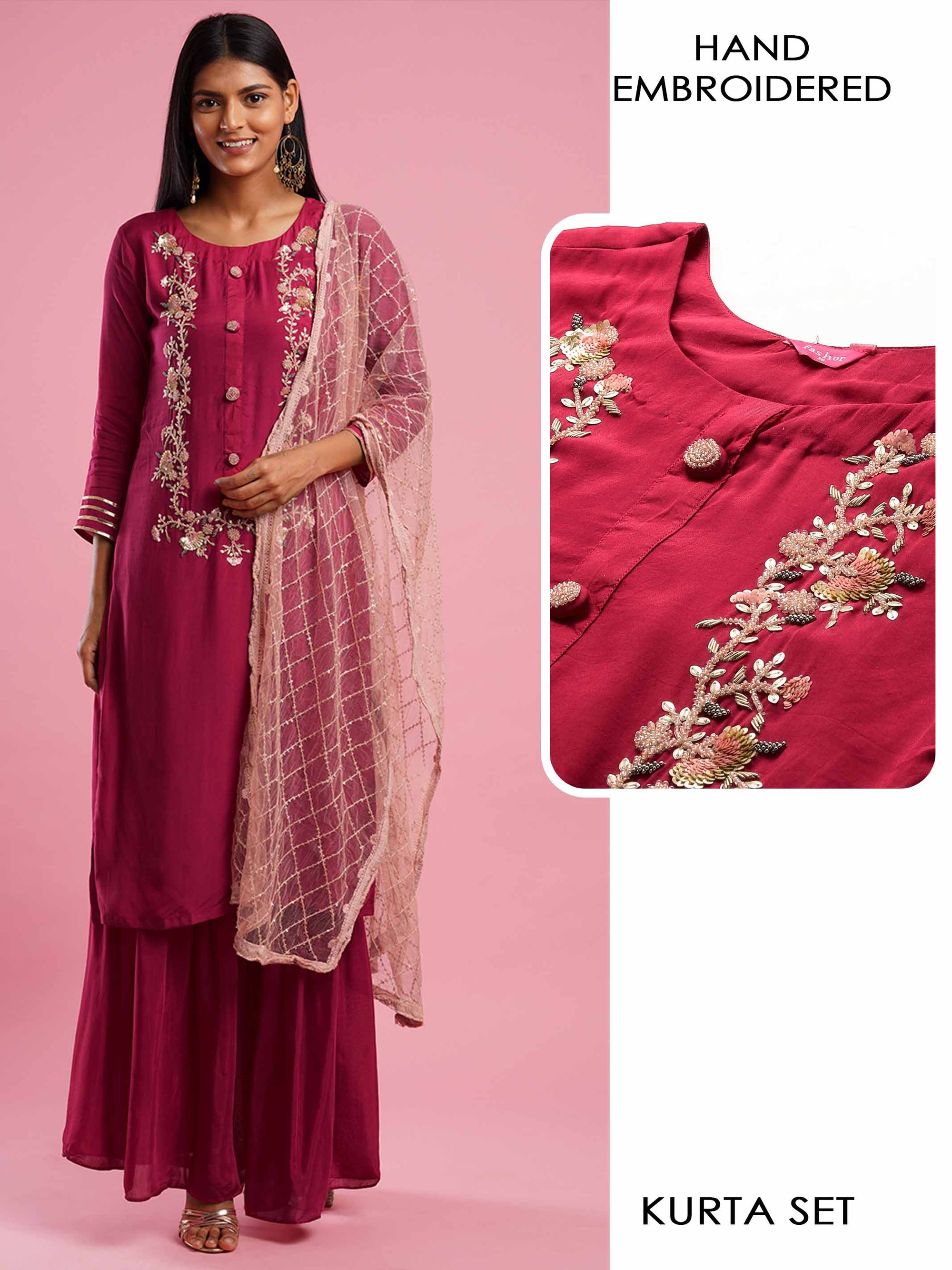 Floral Hand Embroidered Kurta with Solid Sharara & Ethnic Embroidered Dupatta - Pink