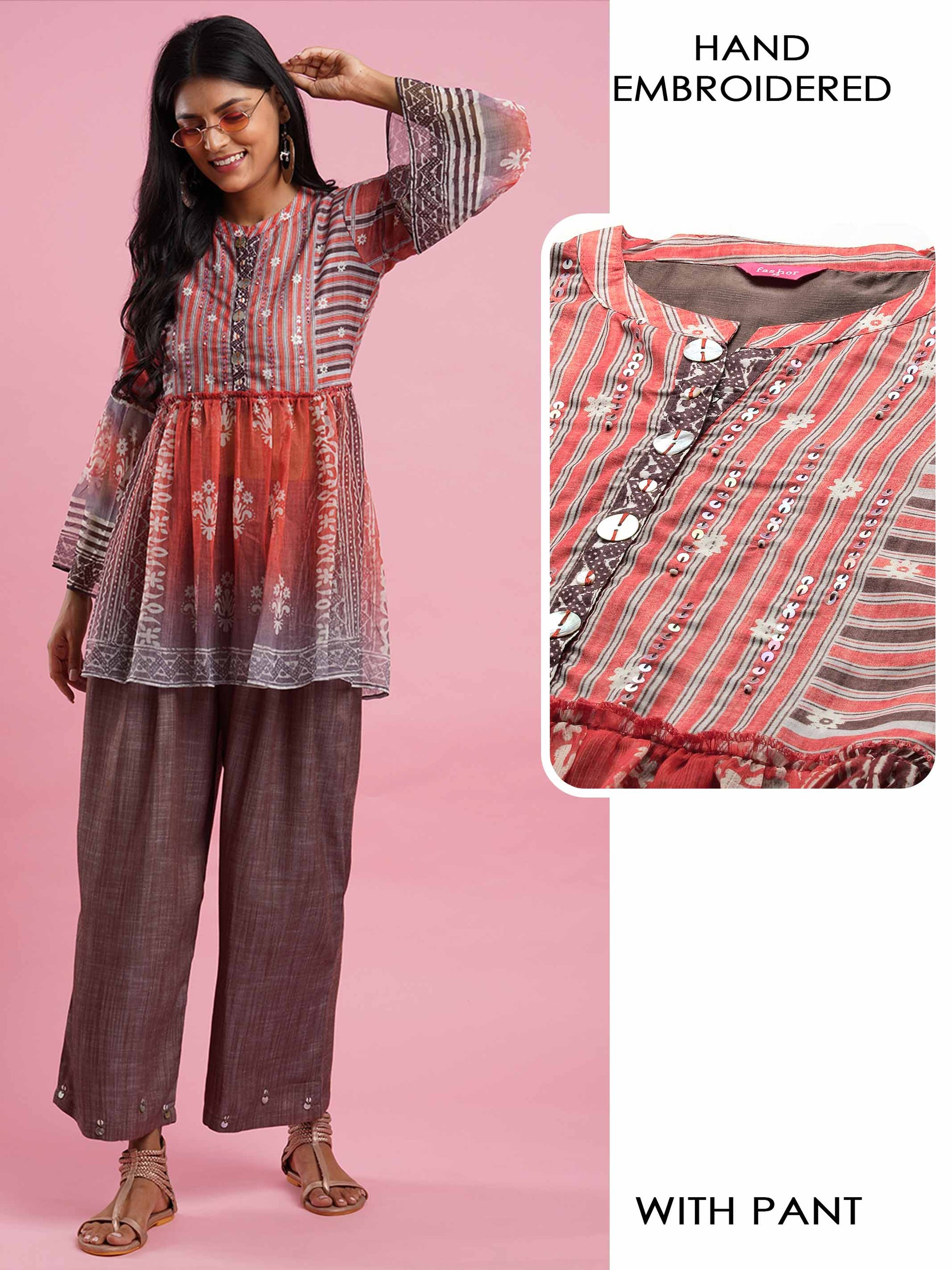 Ethnic Printed & Hand Embroidered Peplum Top with Textured Pant - Orange
