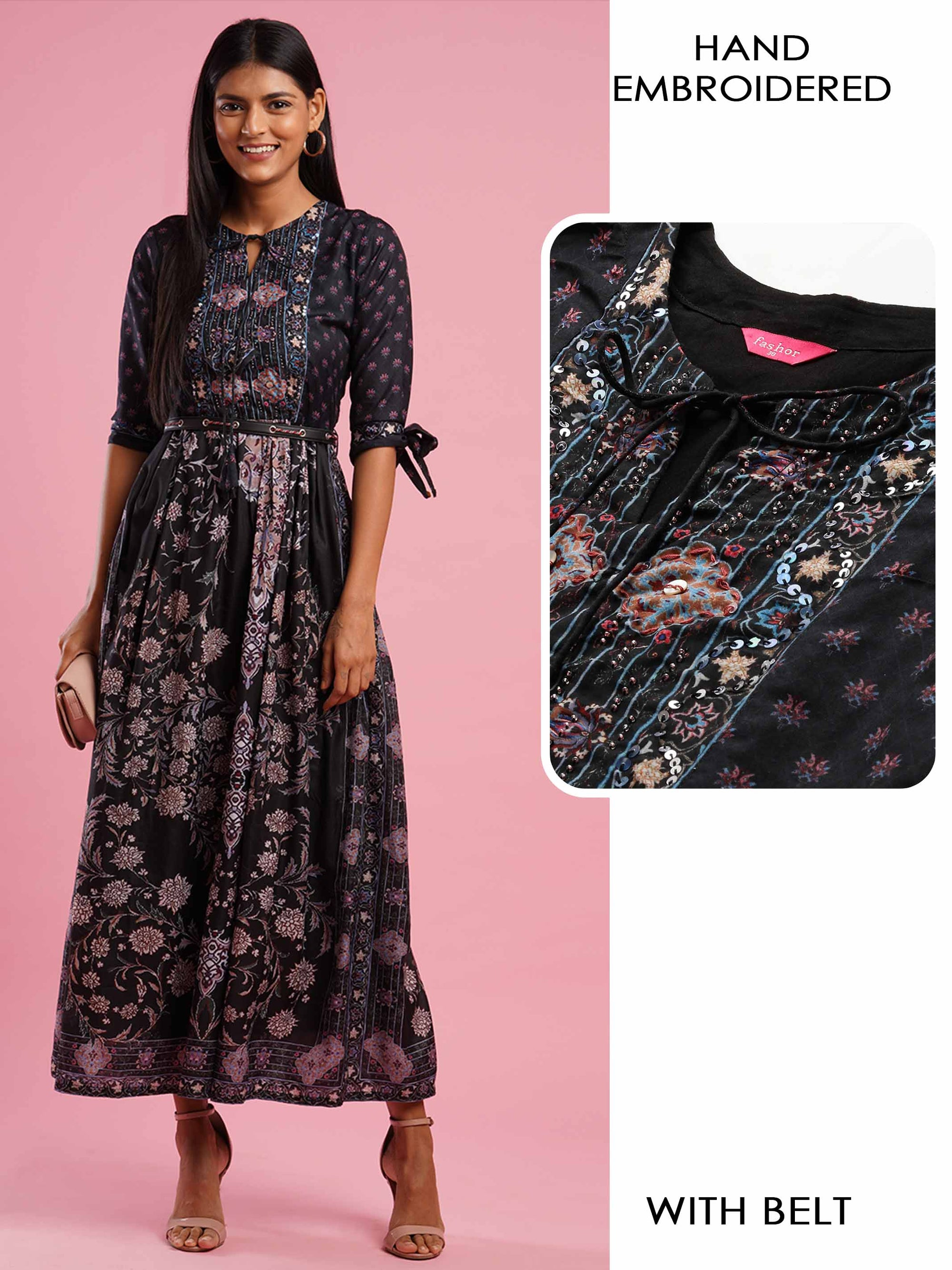 Ethnic Mix Printed & Minimal Hand Embroidered Maxi With A Leather String Belt - Black