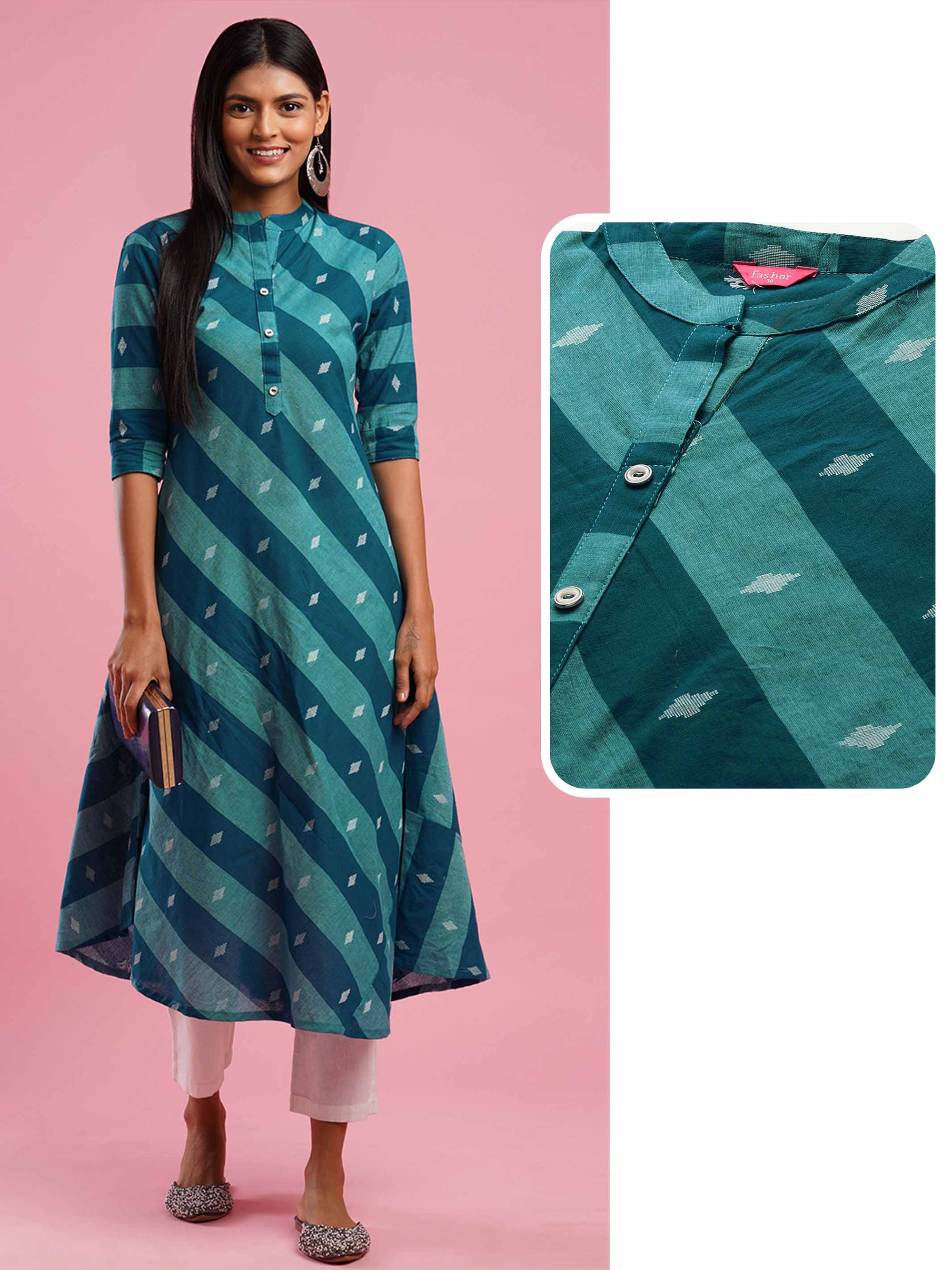 Diagonal Striped & Ikat Woven A-Line Kurta - Blue
