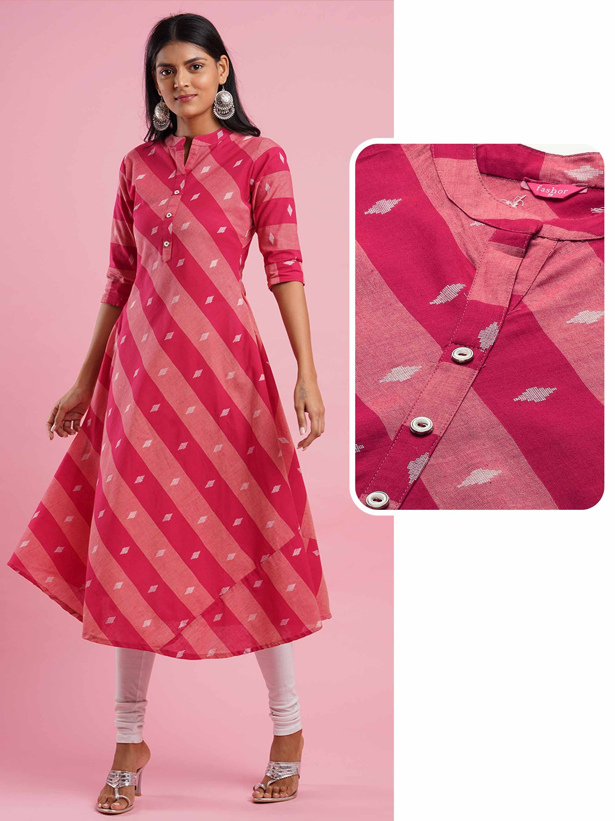 Diagonal Striped & Ikat Woven A-Line Kurta - Pink