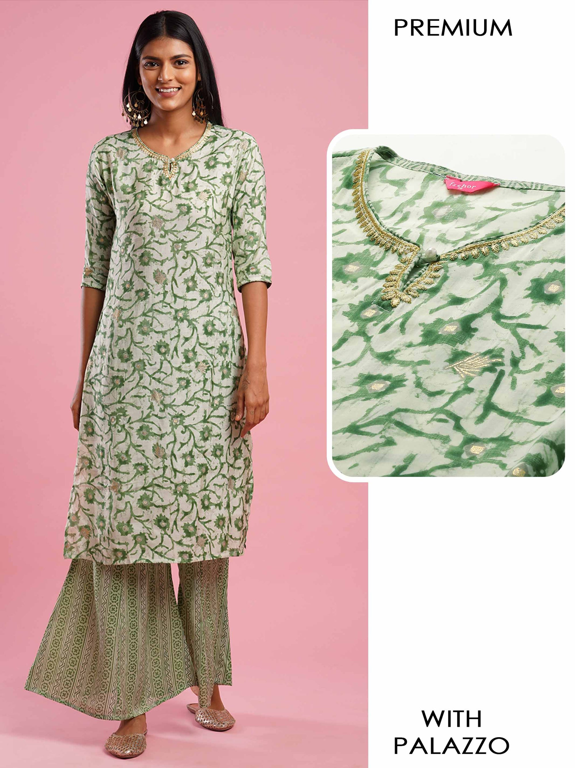 Floral Printed & Embroidered Kurta with Dense Printed Palazzo - Green