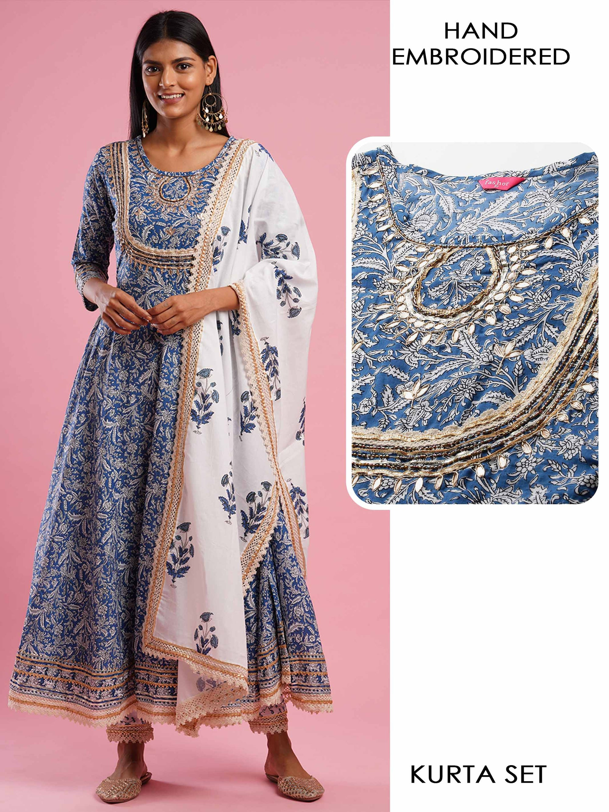 Handblock Printed & Gota Embroidered Kurta with Jaipur Handblock Printed Pant & Dupatta - Blue