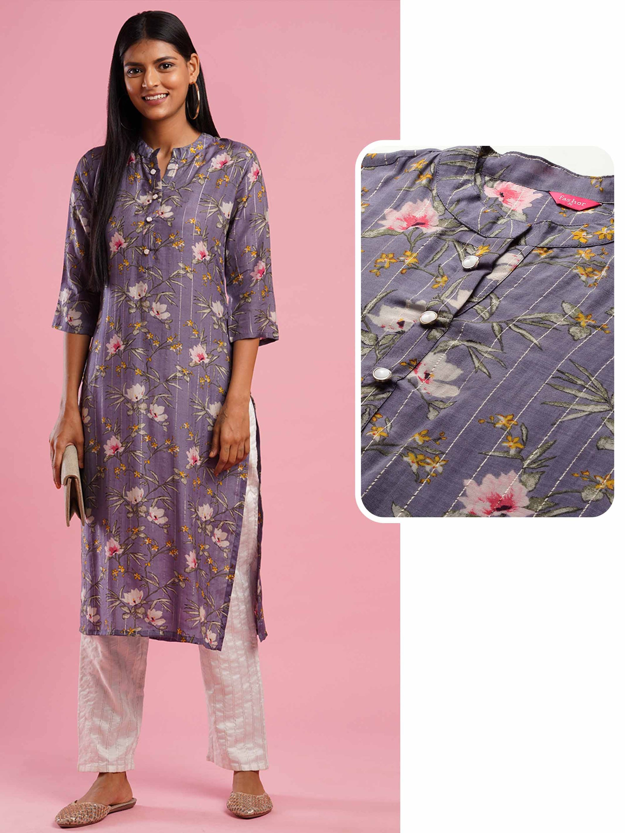 Lurex Woven Stripes & Floral Printed Straight Kurta - Grey