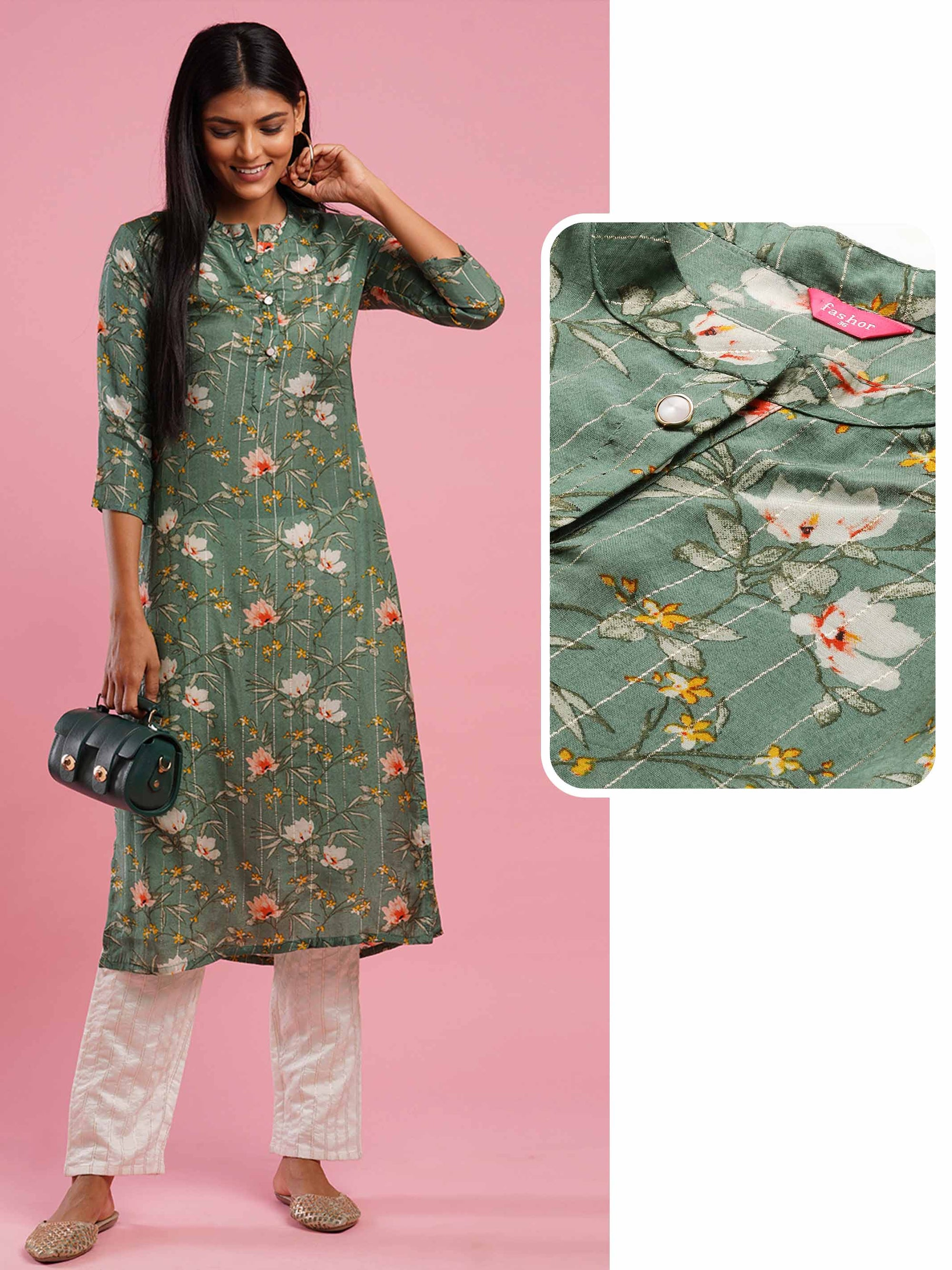Lurex Woven Stripes & Floral Printed Straight Kurta - Olive Green