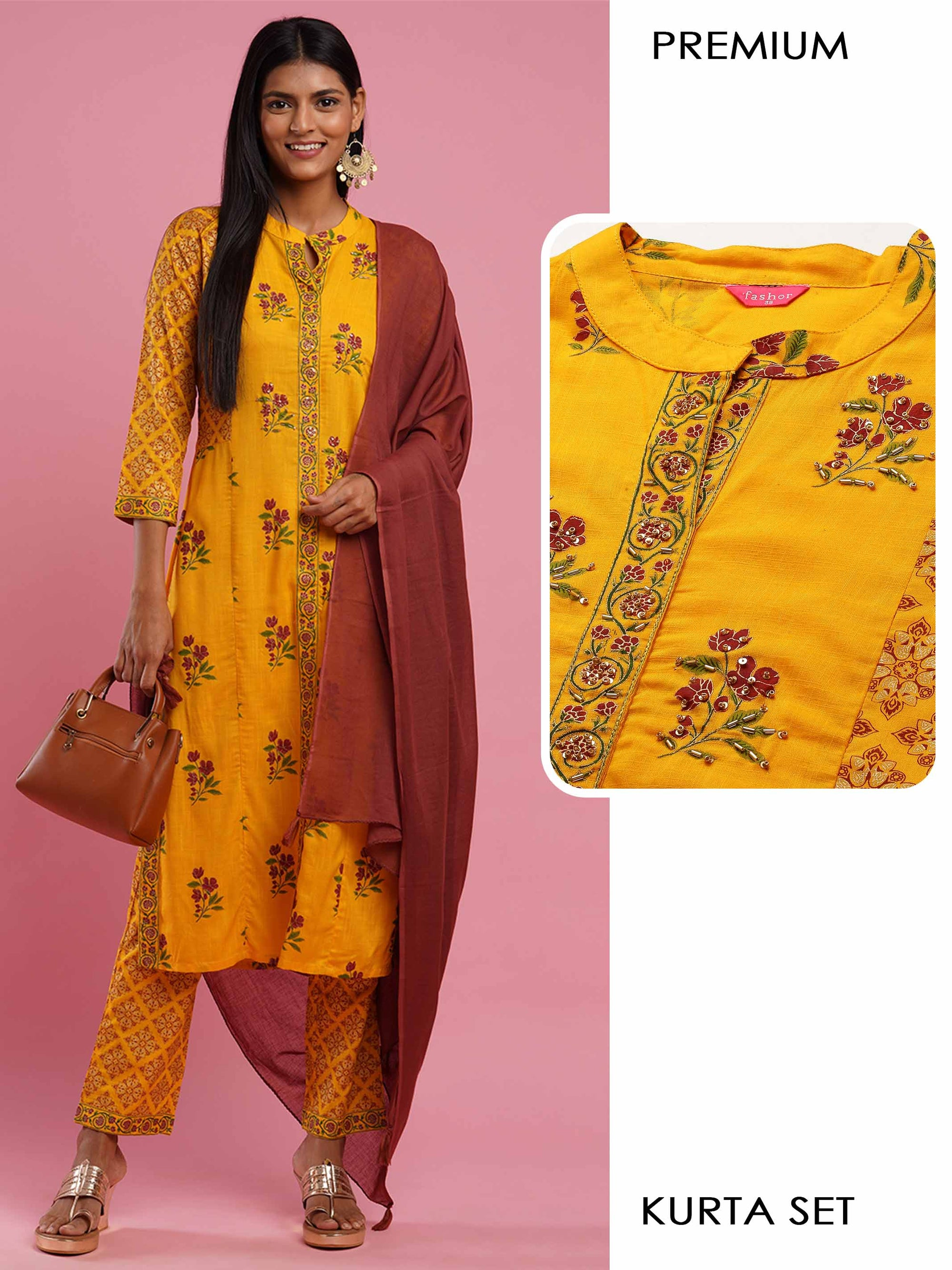 Floral Mix Printed Kurta with Dense Ethnic Printed Palazzo & Contrast Solid Dupatta - Yellow