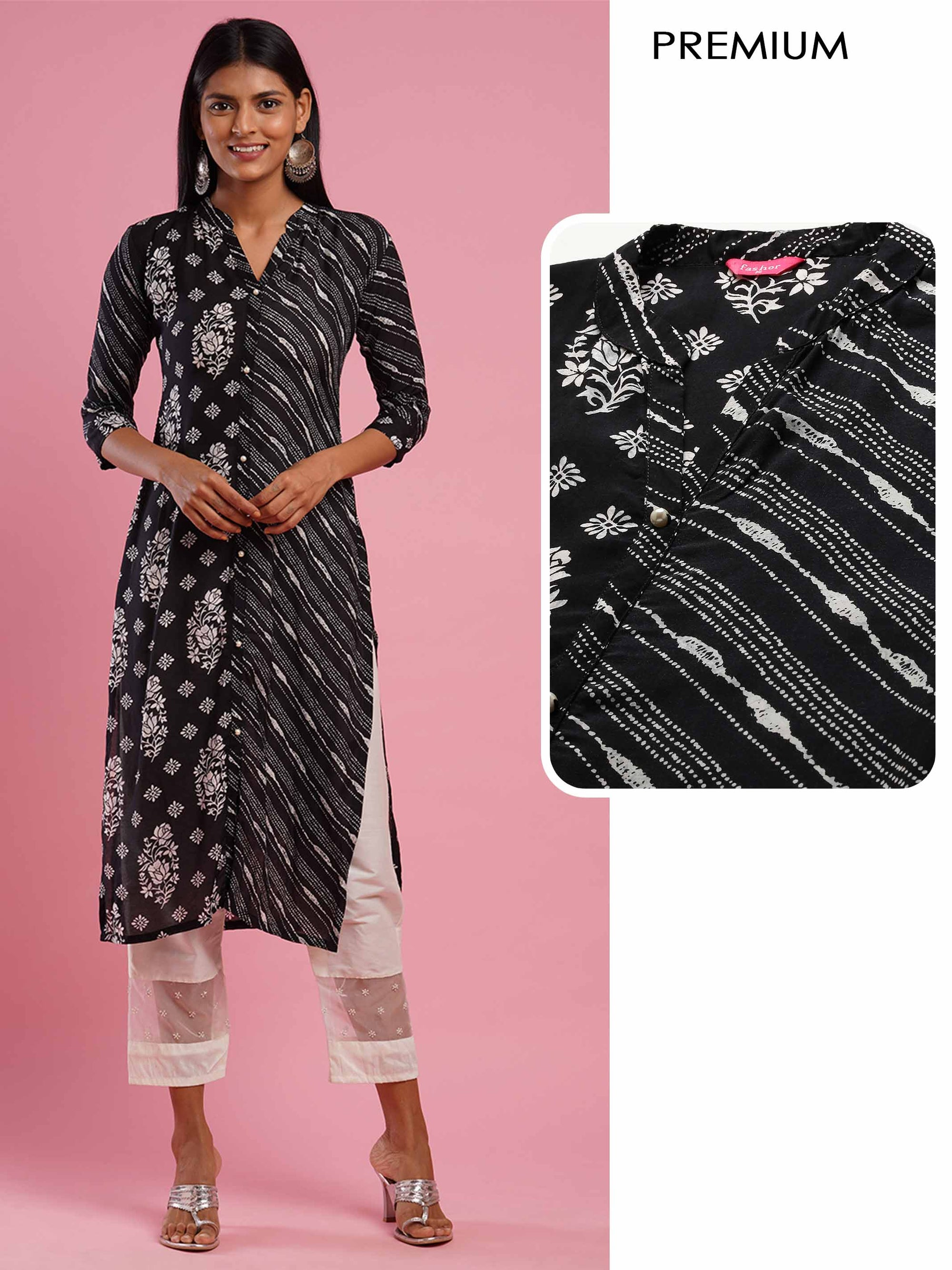 Floral & Distressed Mix Printed Straight Kurta - Black