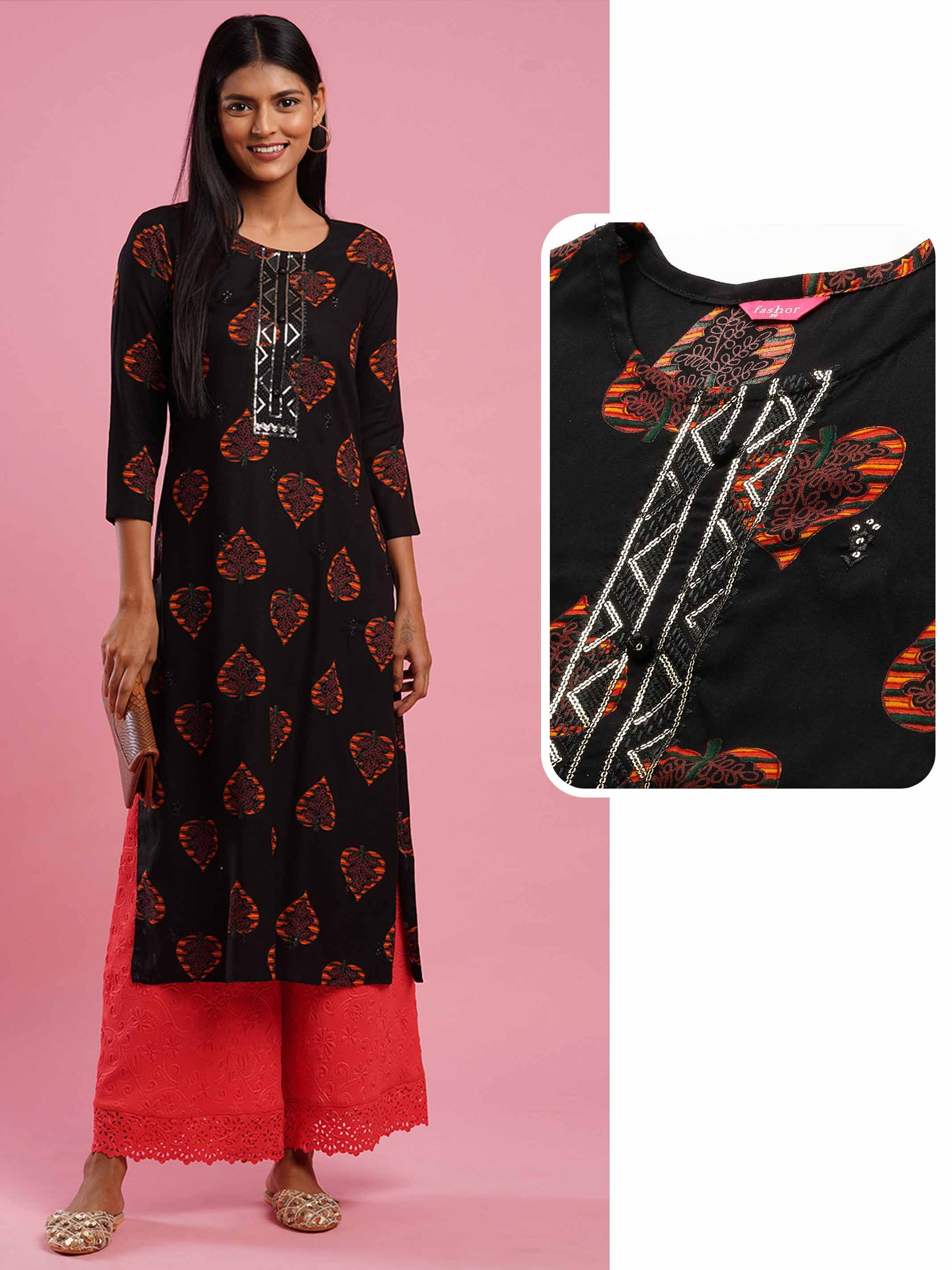 Leaf Printed & Sequin Embroidered Yoke Straight Kurta - Black