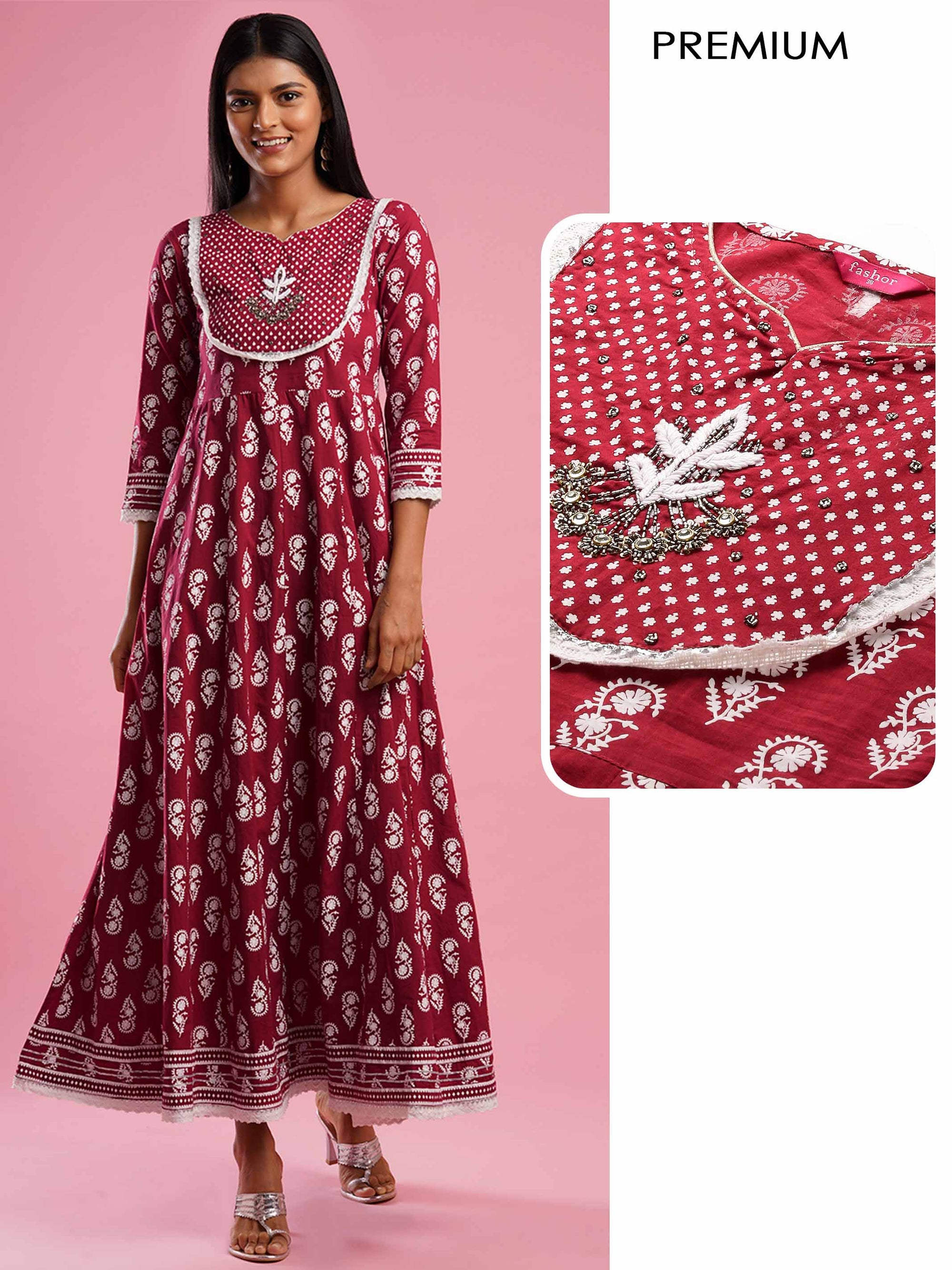 Ethnic Floral Khari Printed & Gota Embroidered A-Line Dress - Maroon