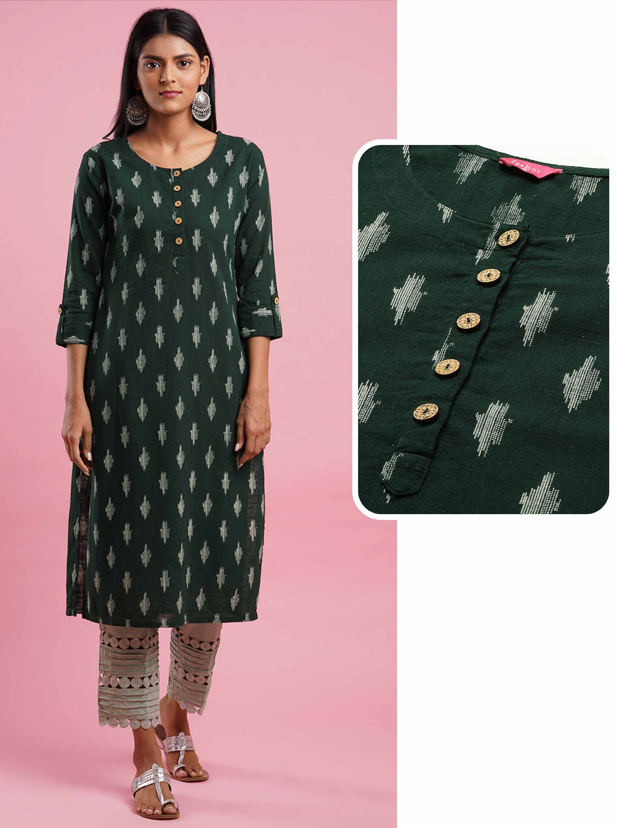 Ikat Khari Printed Straight Kurta - Dark Green