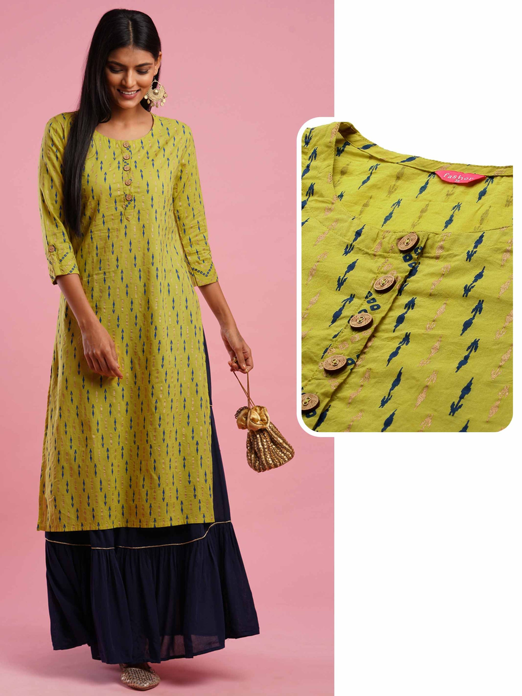 Ikat & Foil Printed Straight Kurta - Lime Green