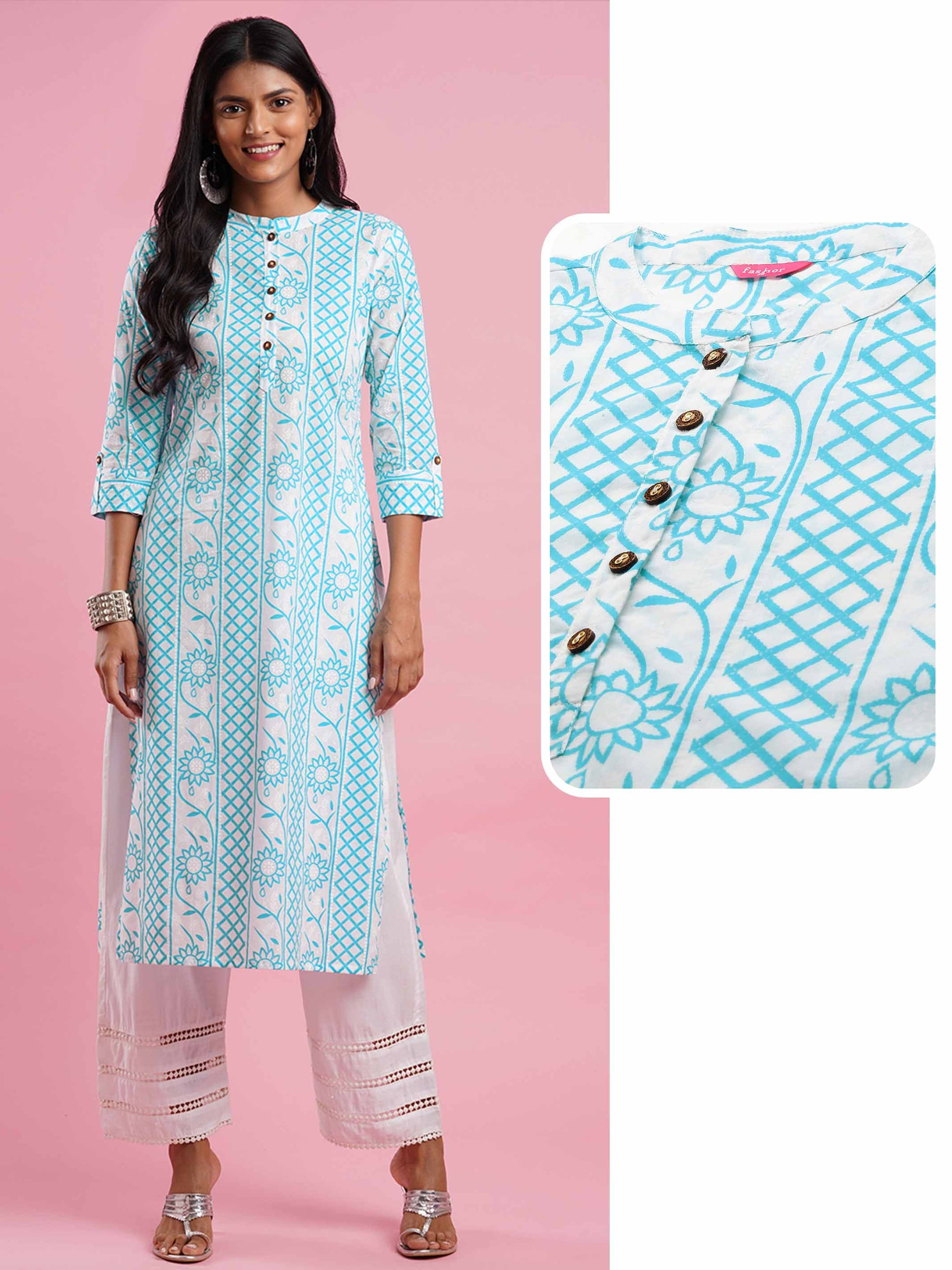 Floral & Lattice Mix printed straight Kurta - Blue