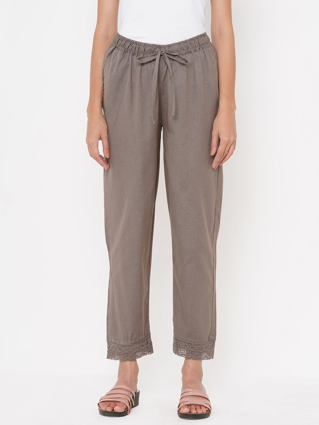 Slub Woven Solid Cotton Pant - Greyish Brown