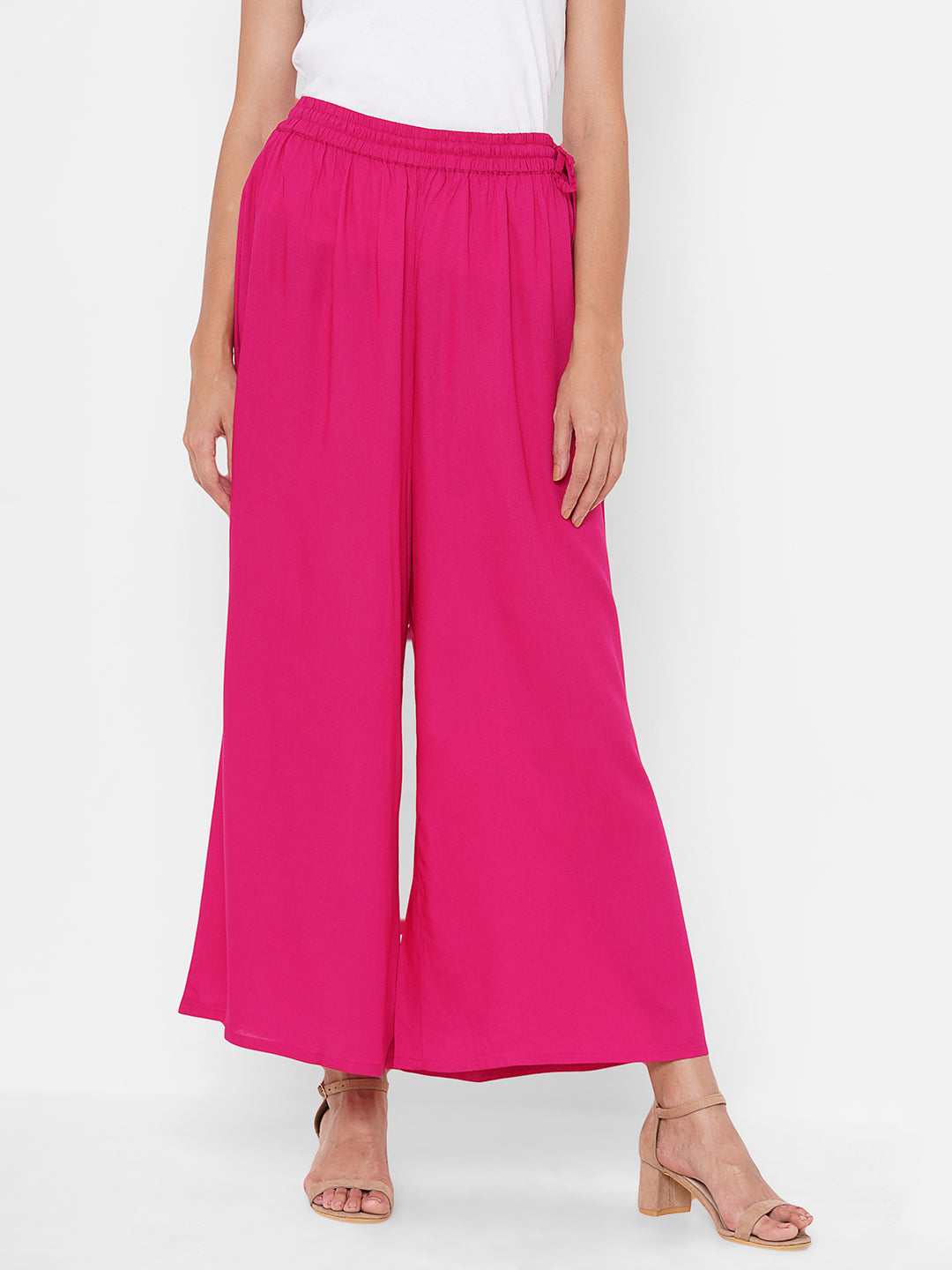 Solid Straight Rayon Palazzo - Pink