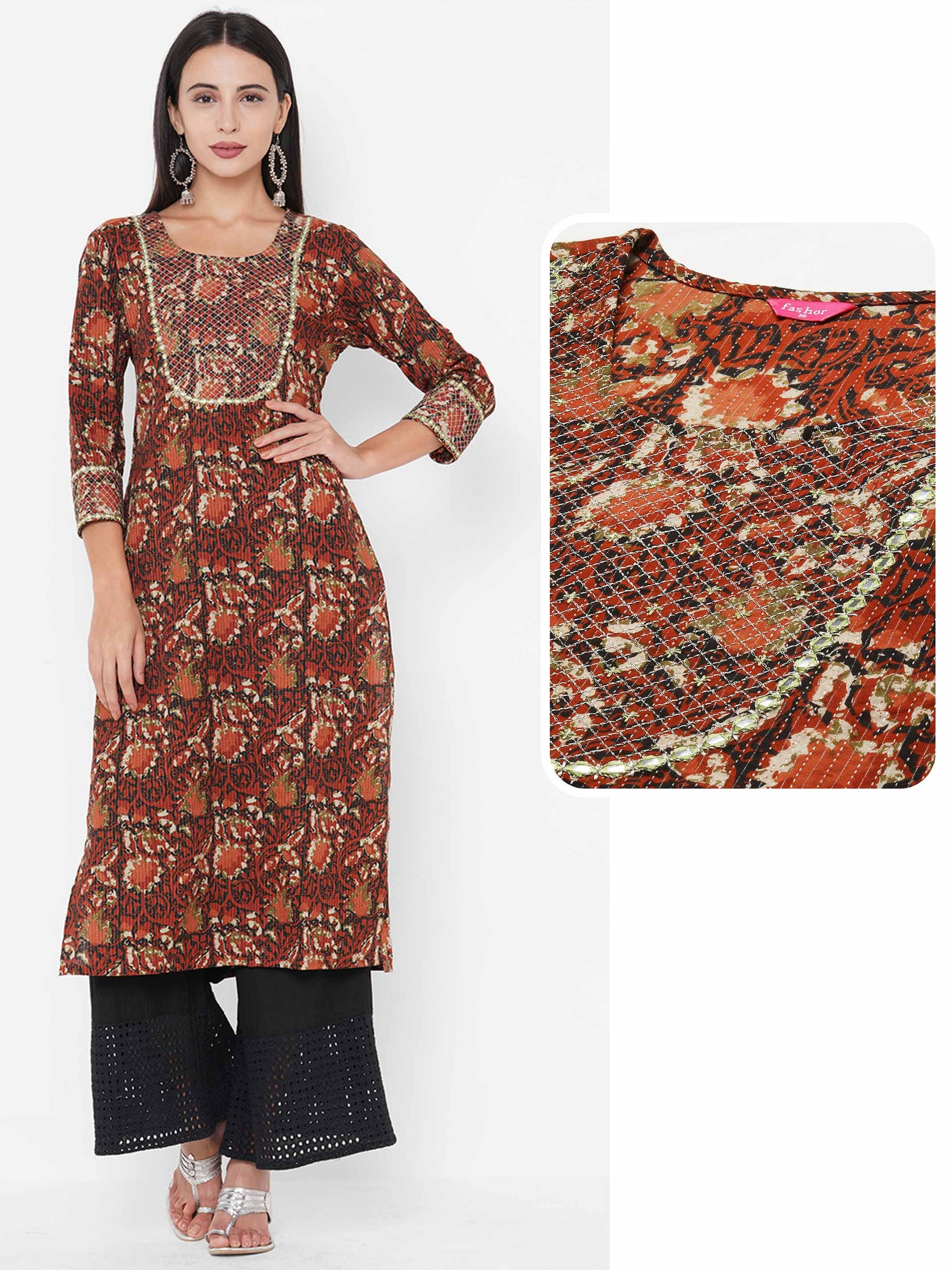 Block Printed & Zari Embroidered on Kantha Woven fabric Kurta - Rust