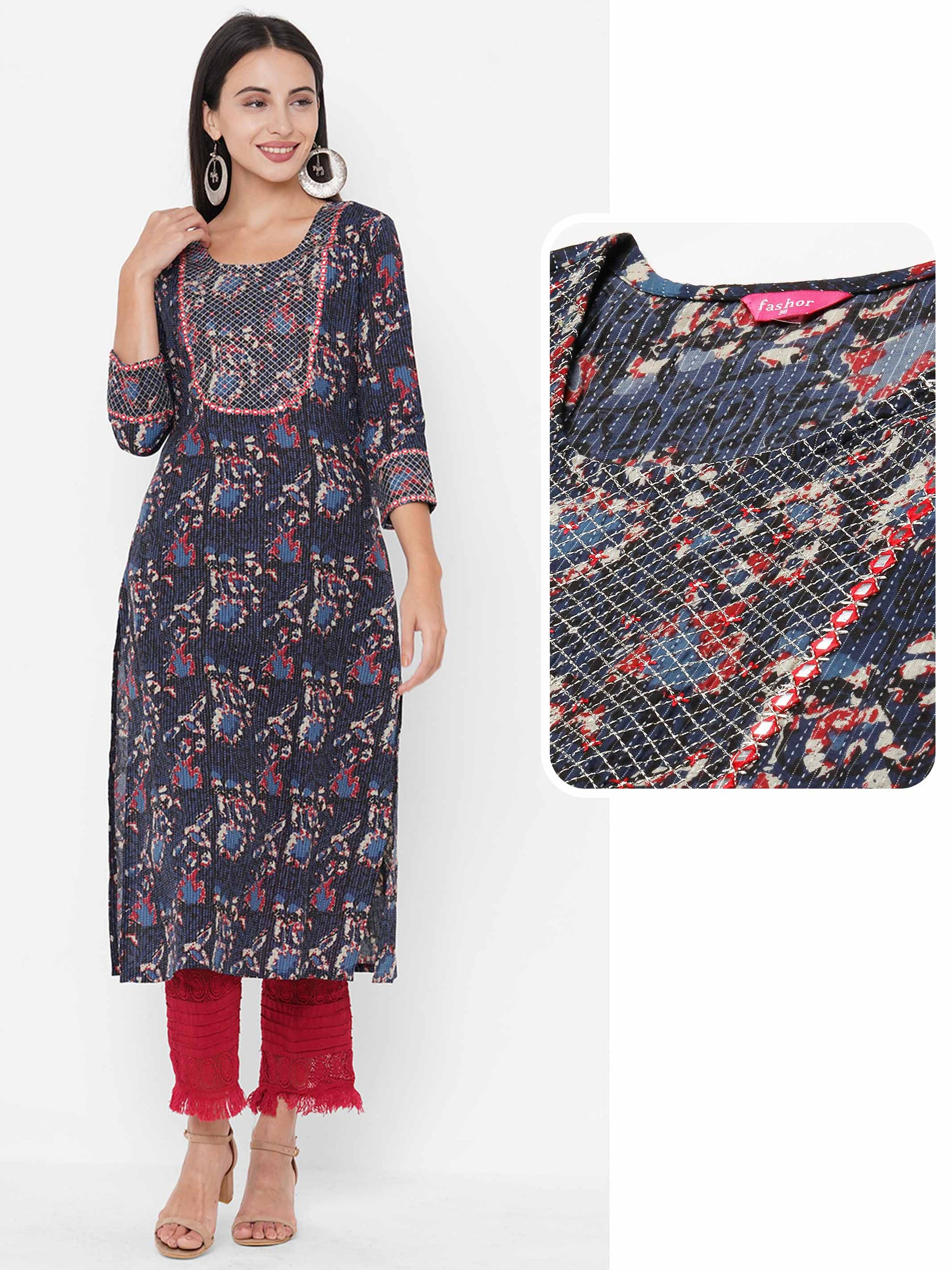 Block Printed & Zari Embroidered on Kantha Woven fabric Kurta - Indigo