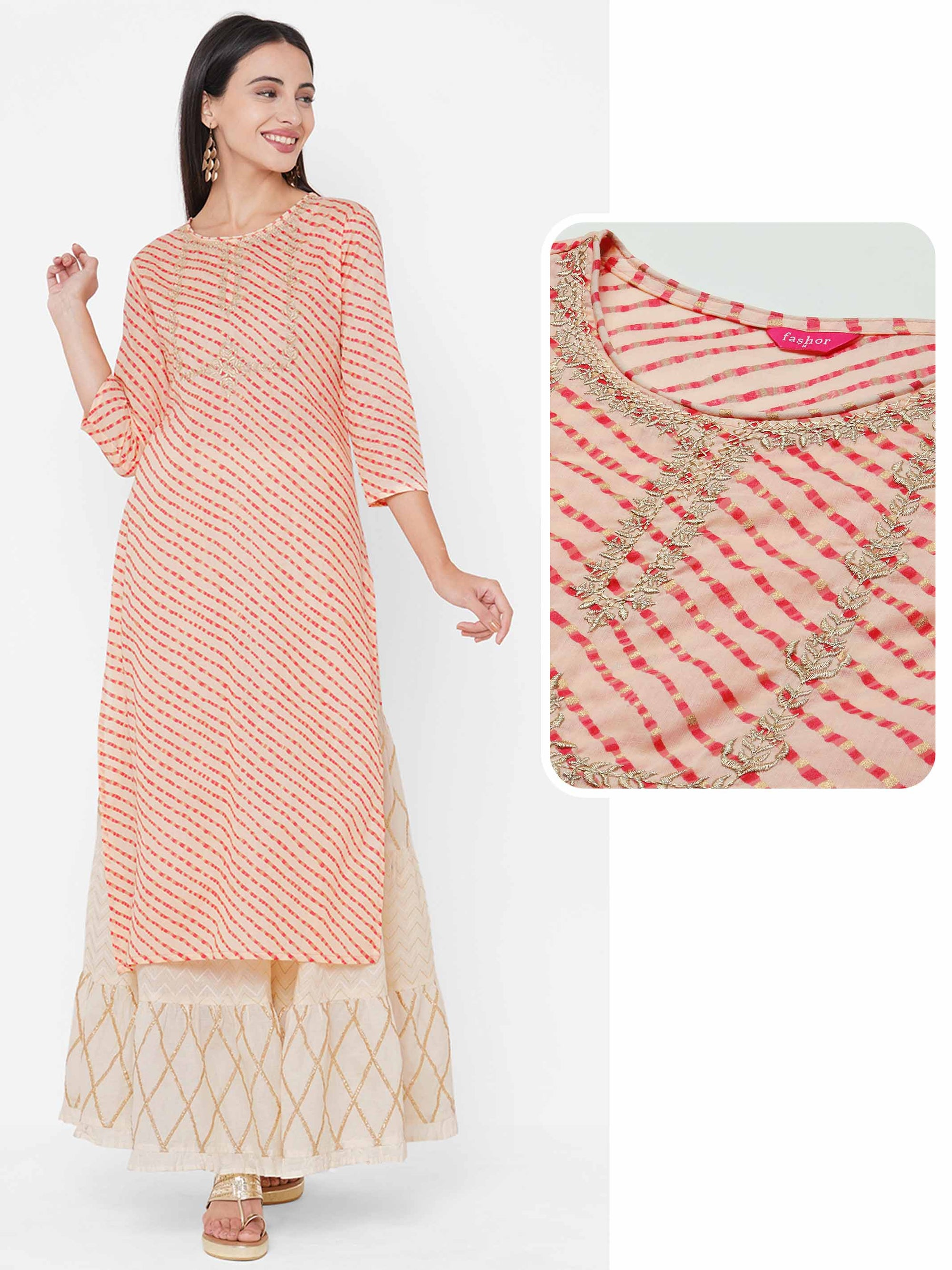Lehariya Printed & Zari Embroidered Straight Kurta - Peach