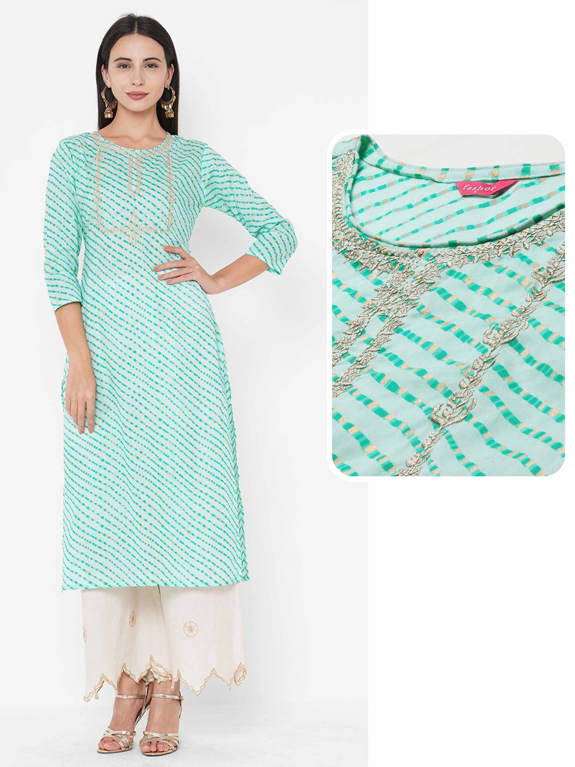 Lehariya Printed & Zari Embroidered Straight Kurta - Pastel Green