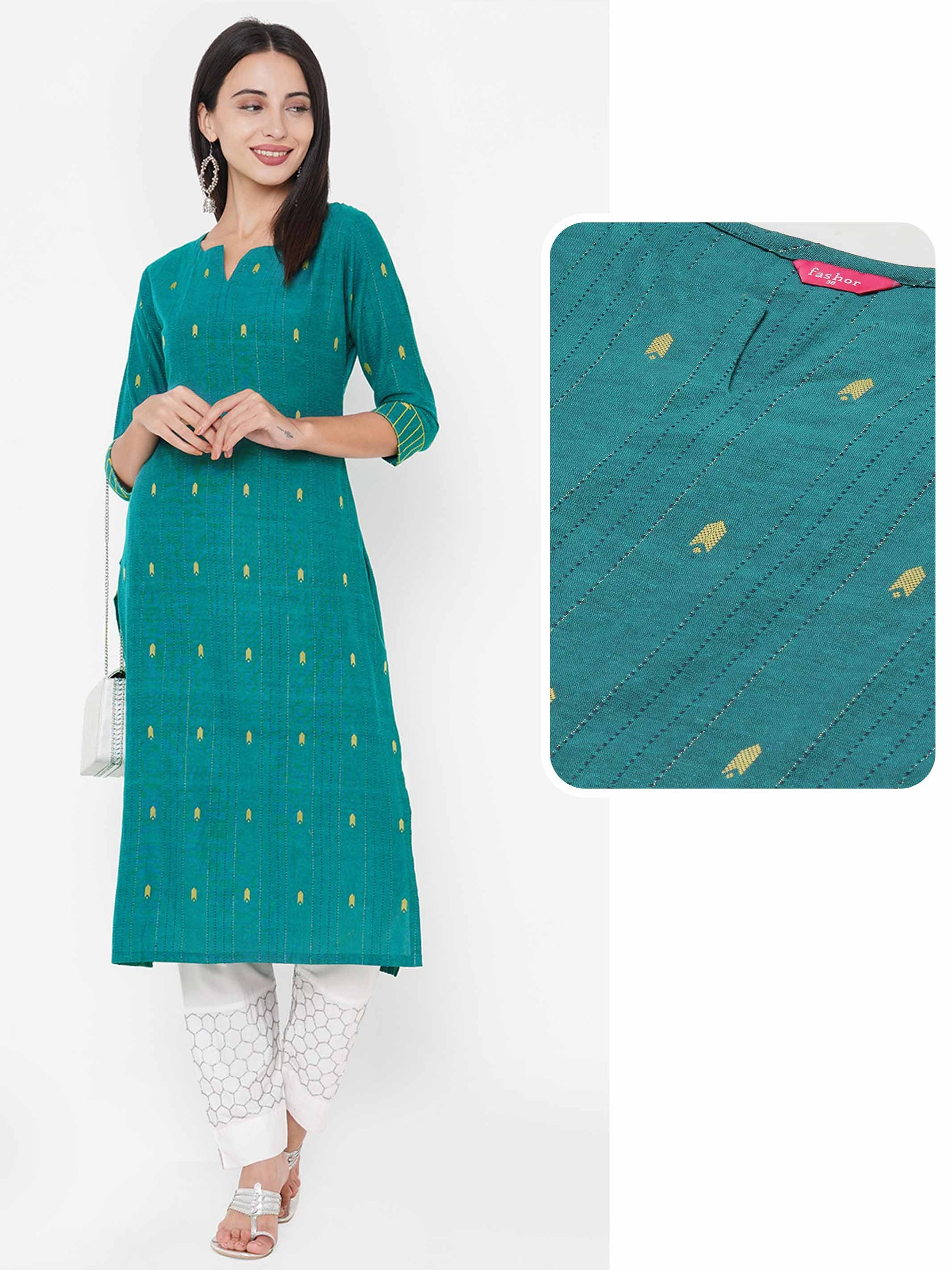 Ikat Woven & Kantha Woven Straight Kurta - Sea Green
