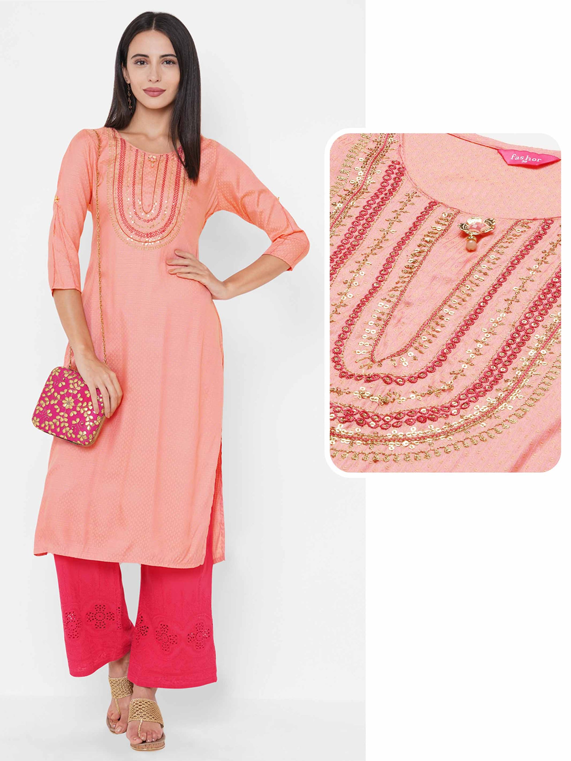 Zari Embroidered & Woven Pattern Straight Kurta - Peach