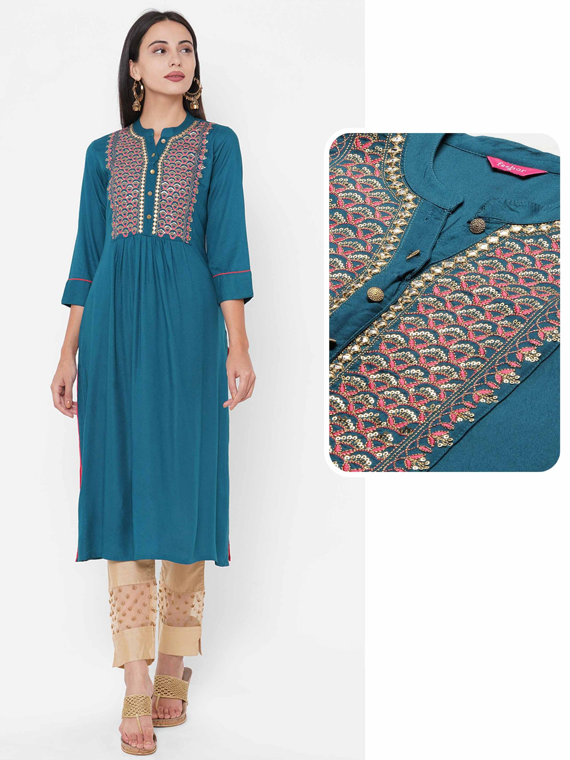 Ethnic Embroidered Yoke Gathered Kurta - Teal Blue