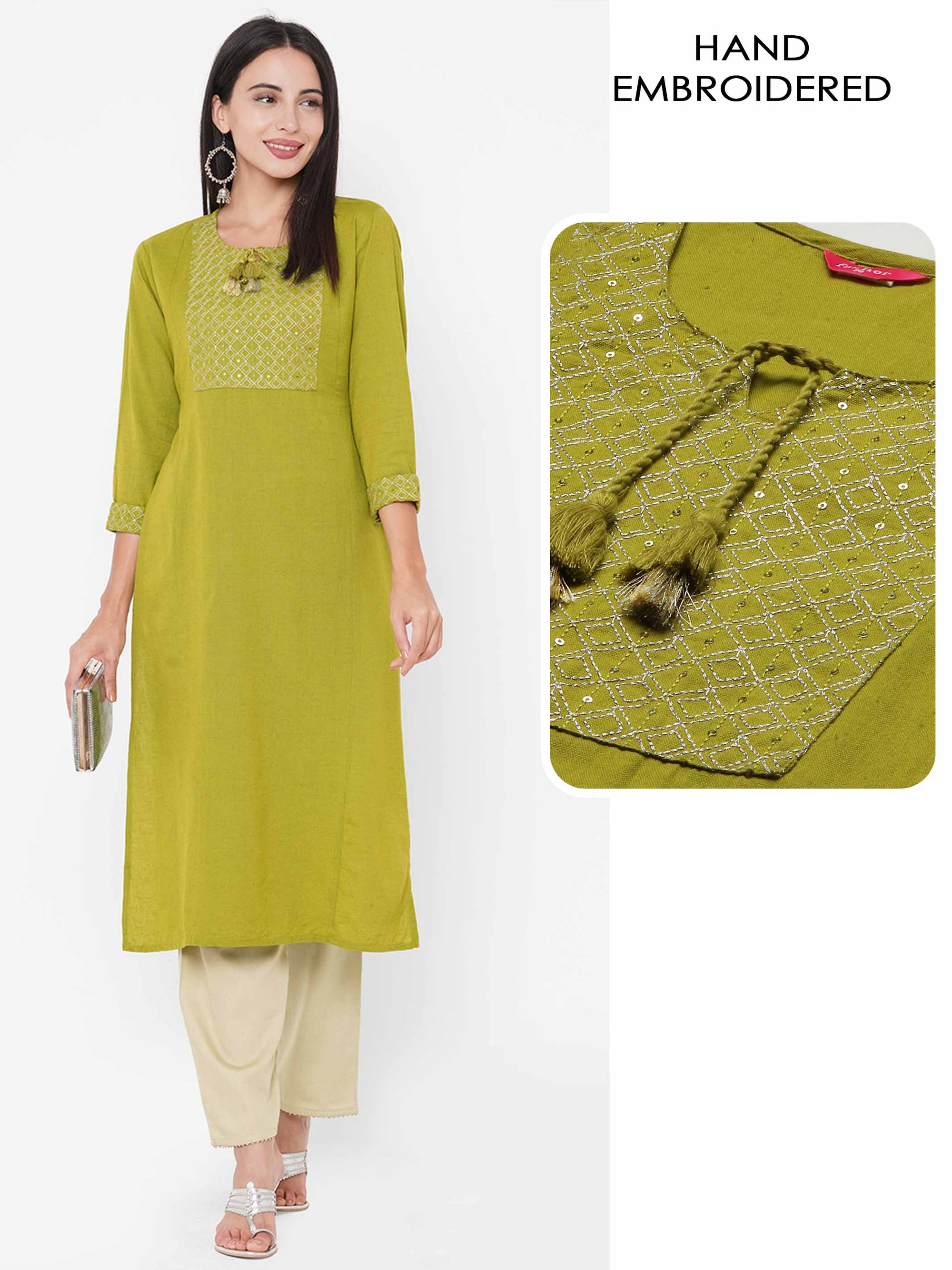 Ethnic Zari Embroidered Straight Kurta - Lime Green