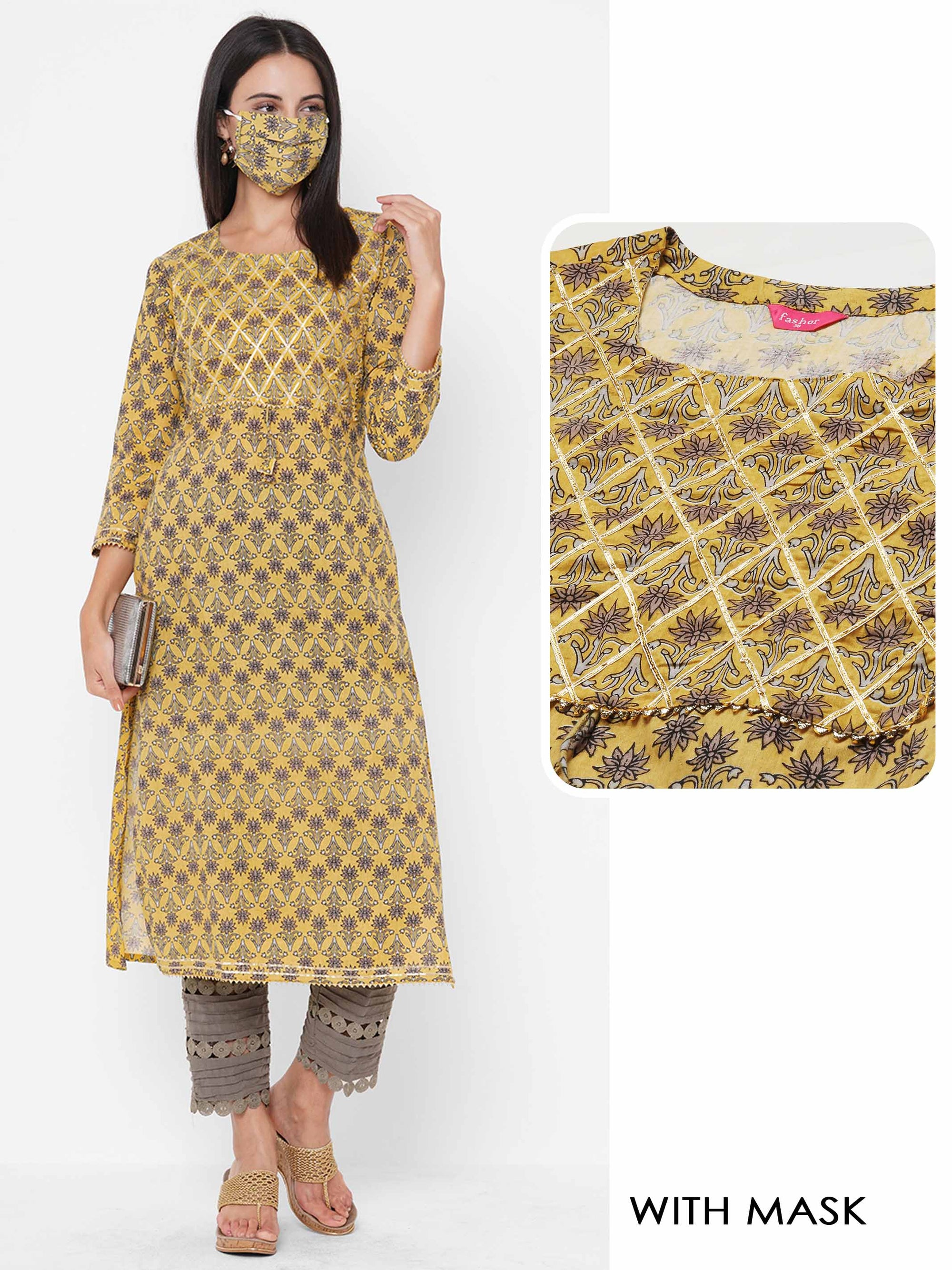 Floral Block Printed & Gota Embroidered Straight Kurta with 2-Ply Mask - Yellow