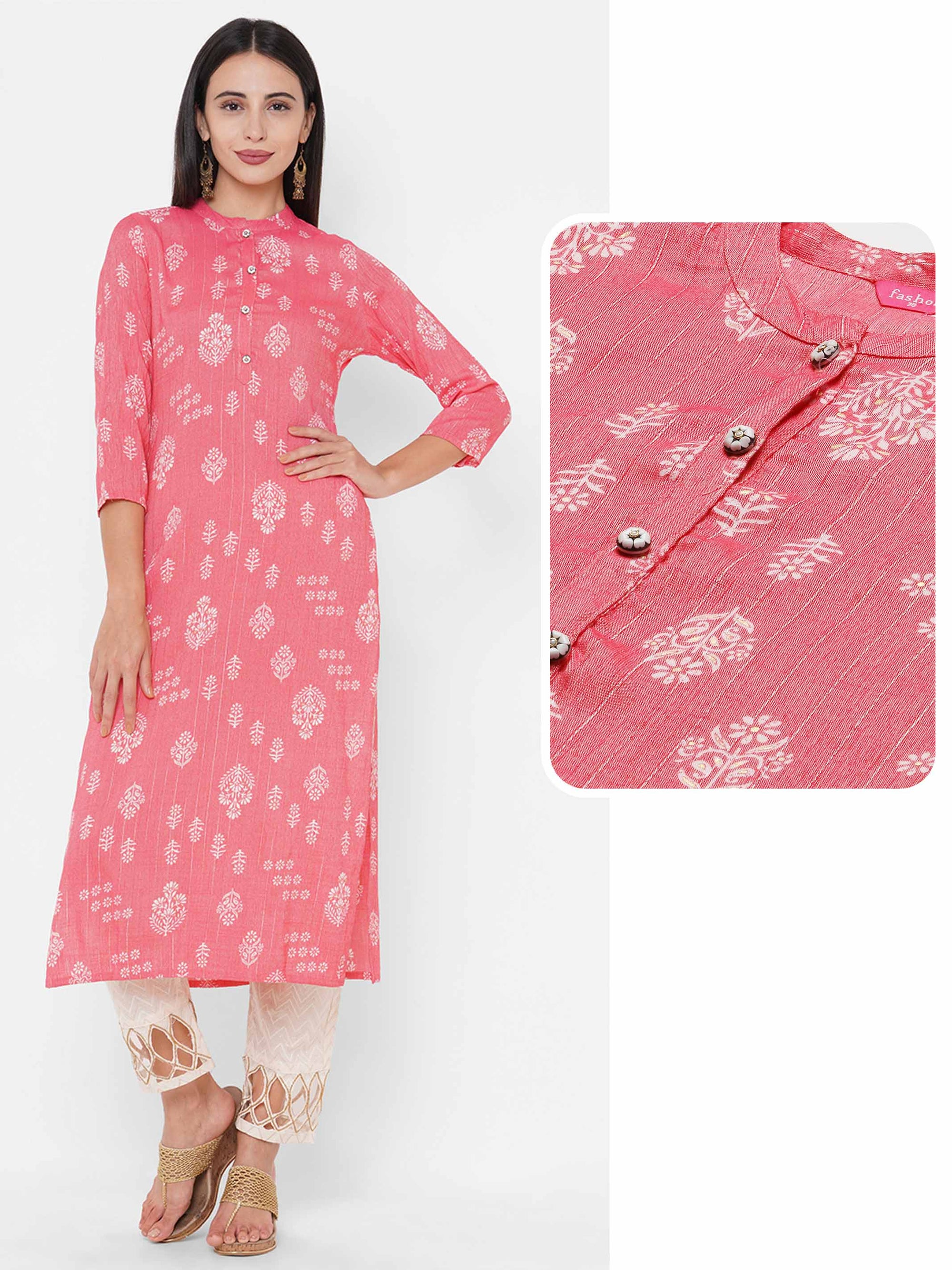 Lurex Weaved & Floral Mix Printed Straight Kurta - Pink