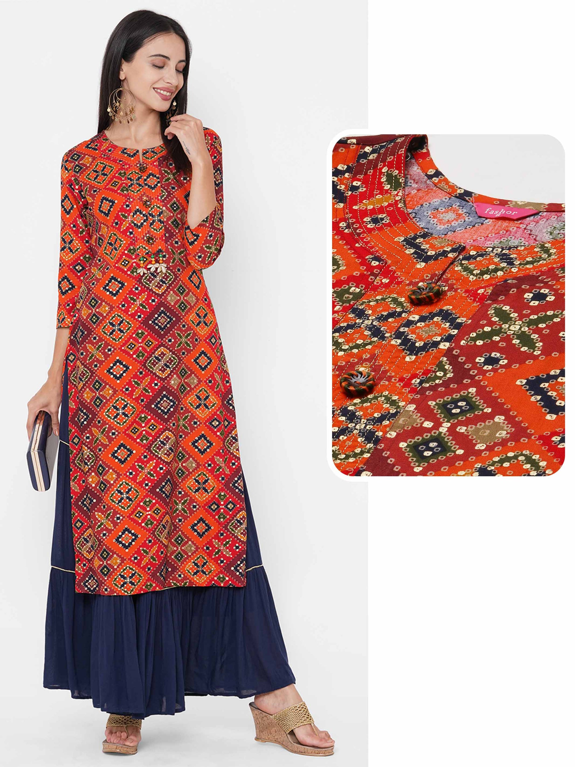 Bandhani & Foil Printed & Embroidered Straight Kurta - Multi