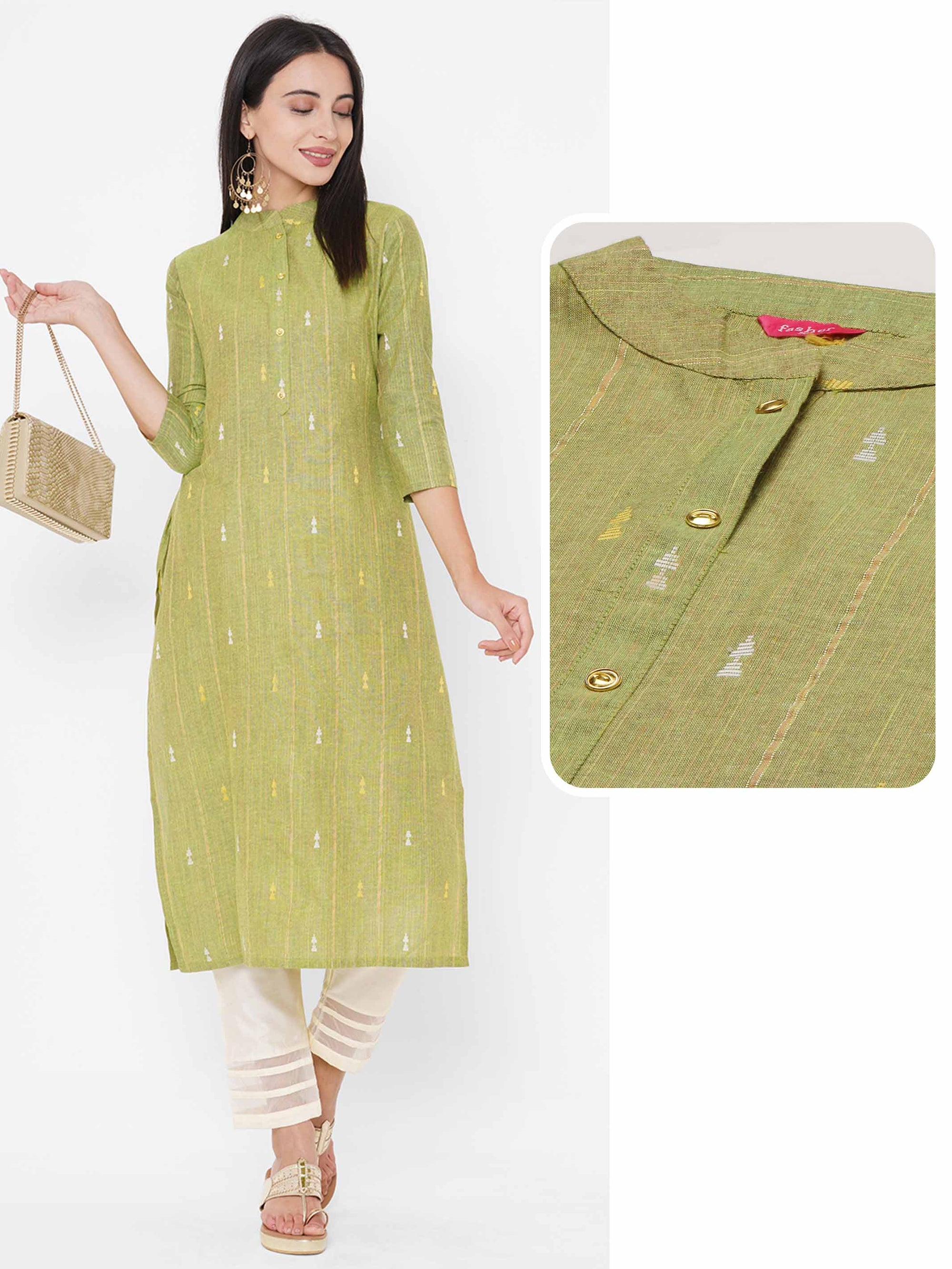 Woven Striped & Ikat Pattern Straight Kurta - Lime Green
