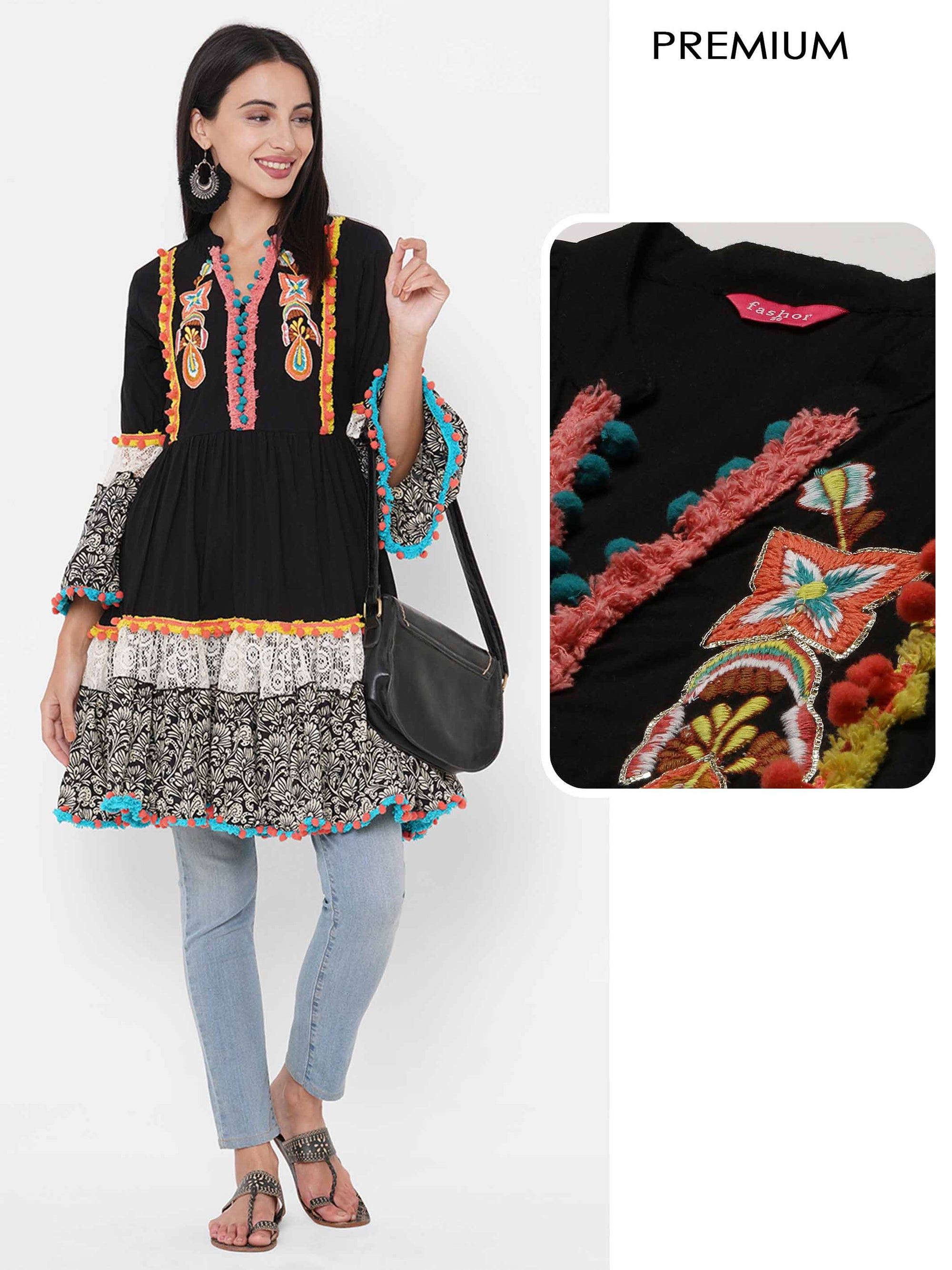 Floral Embroidered Funky Styled Tiered Flare Kurti – Black