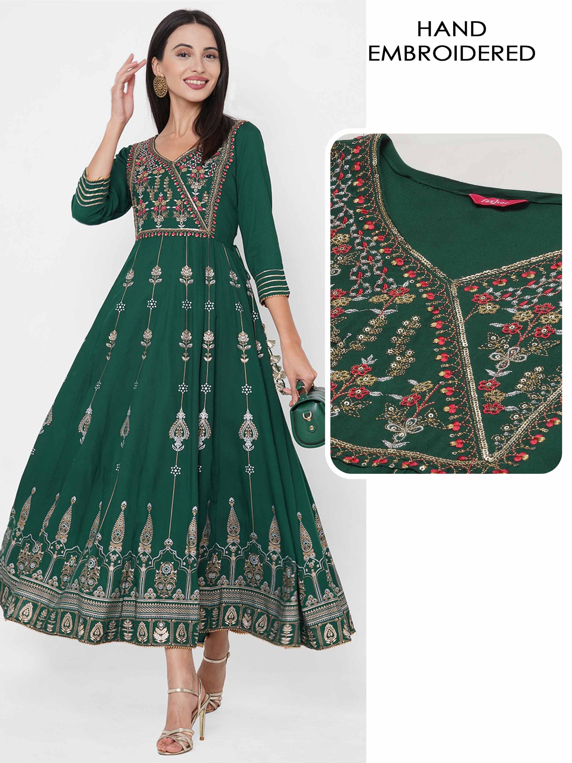 Ethnic Foil Printed & Embroidered Festive Maxi Dress - Bottle Green