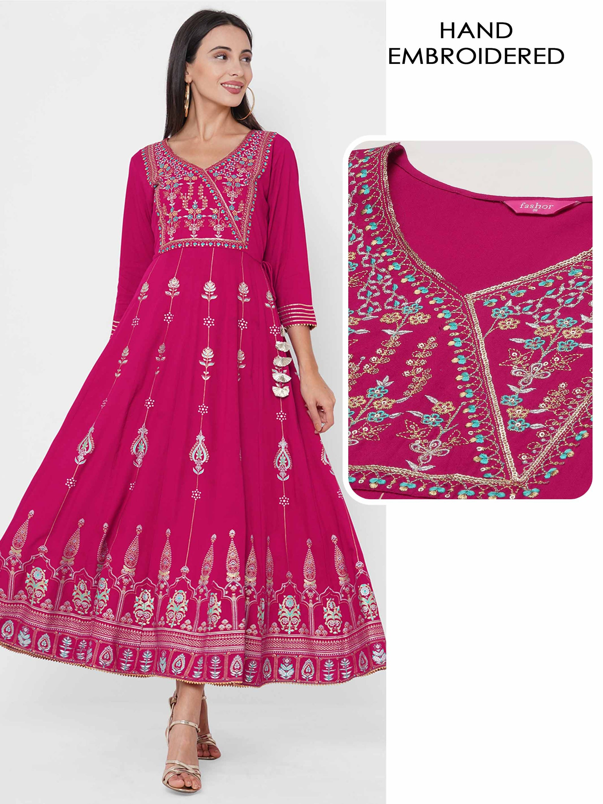 Ethnic Foil Printed & Embroidered Festive Maxi Dress - Pink
