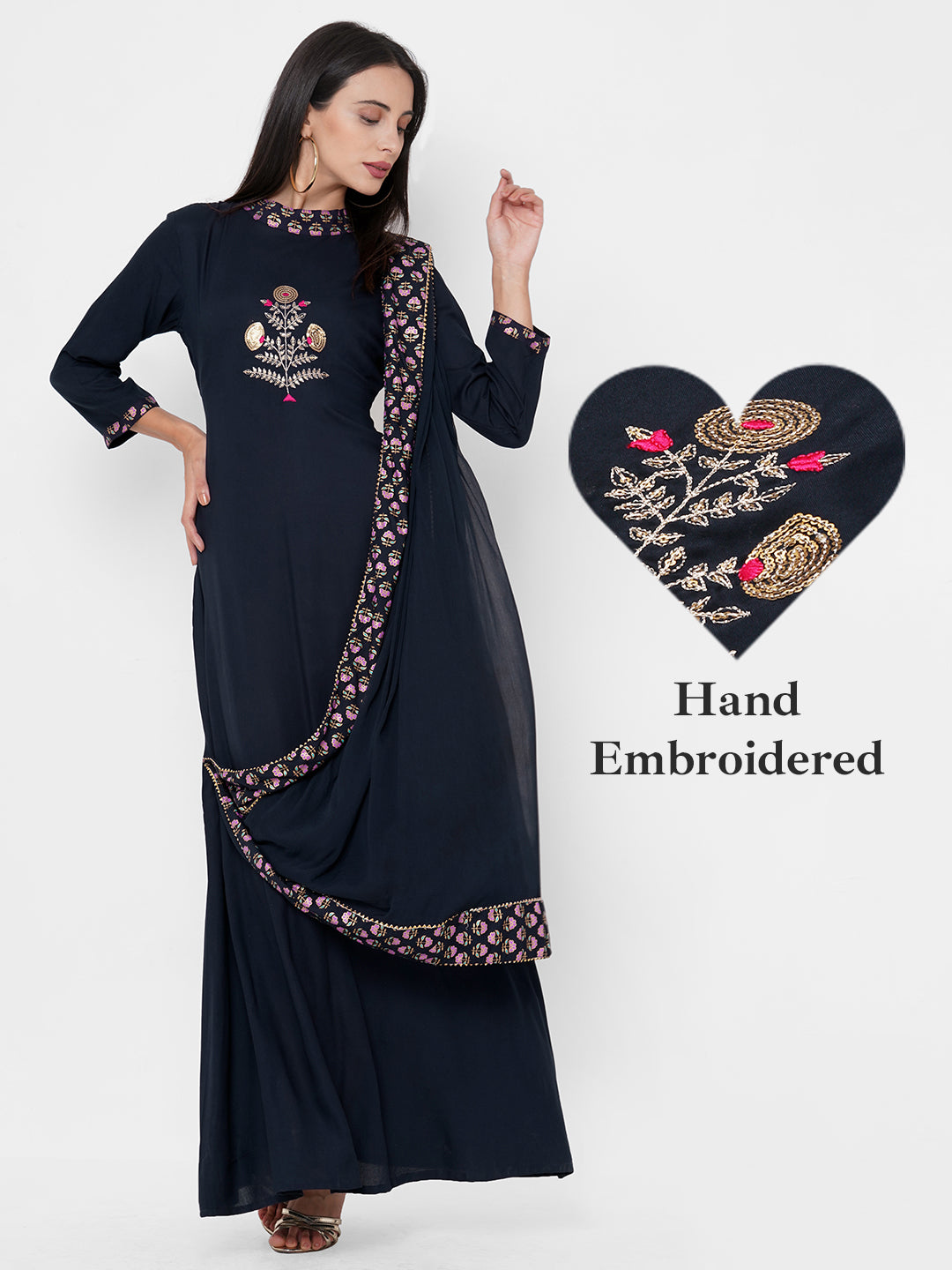 Sequin Hand Embroidered Maxi Dress with Solid Attached Dupatta - Navy Blue