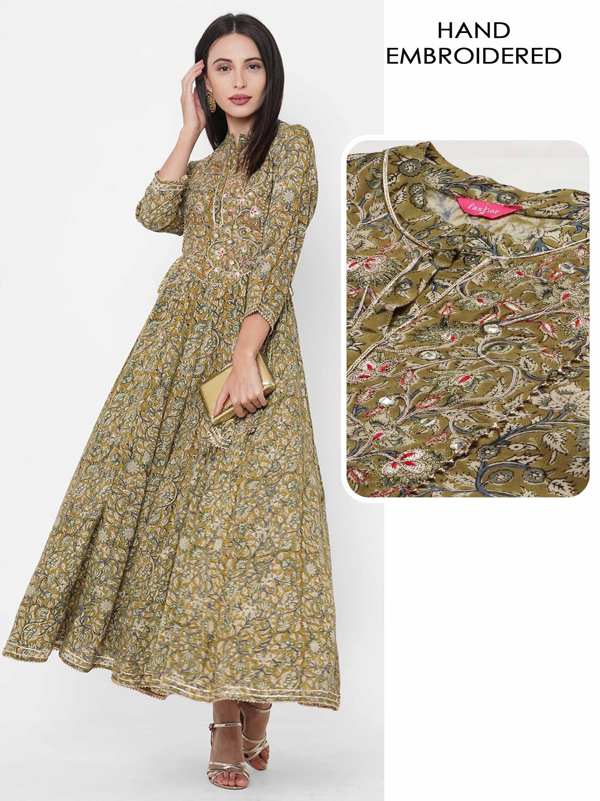 Floral Jaal Printed & Gota Patti Embroidered Paneled Flared Maxi - Moss Green