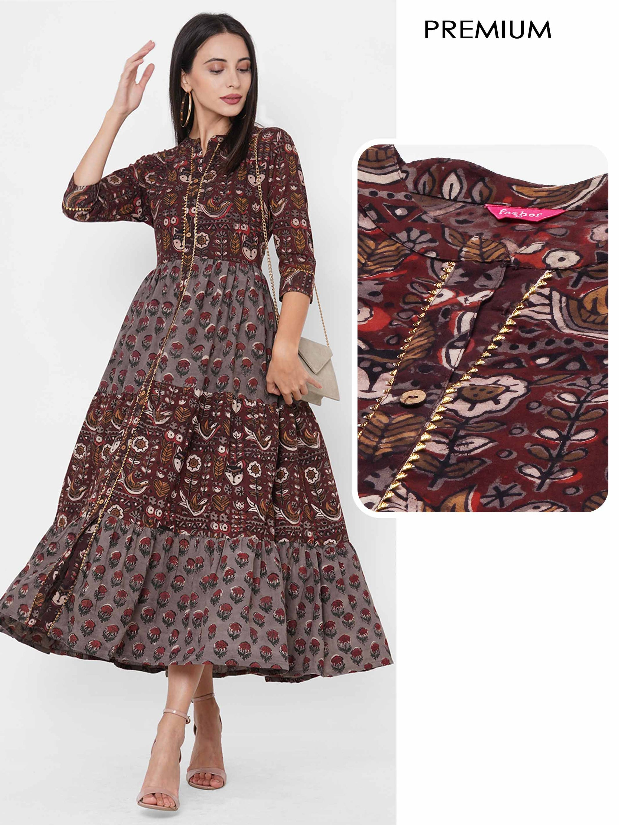 Floral & Ethnic Daabu Printed Tiered Maxi Dress - Brown