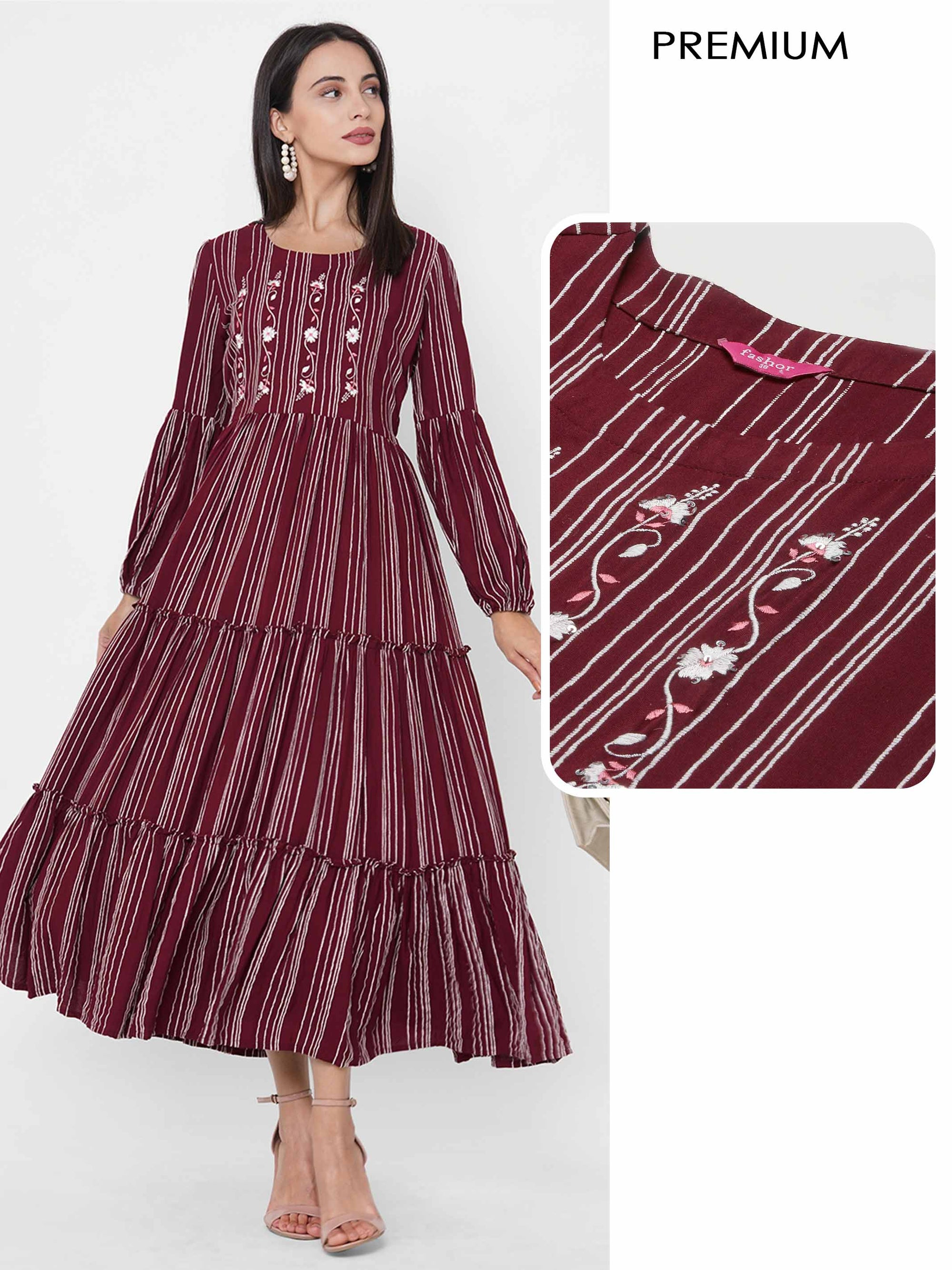 Floral Embroidered & Woven Striped Tiered Maxi Dress - Maroon