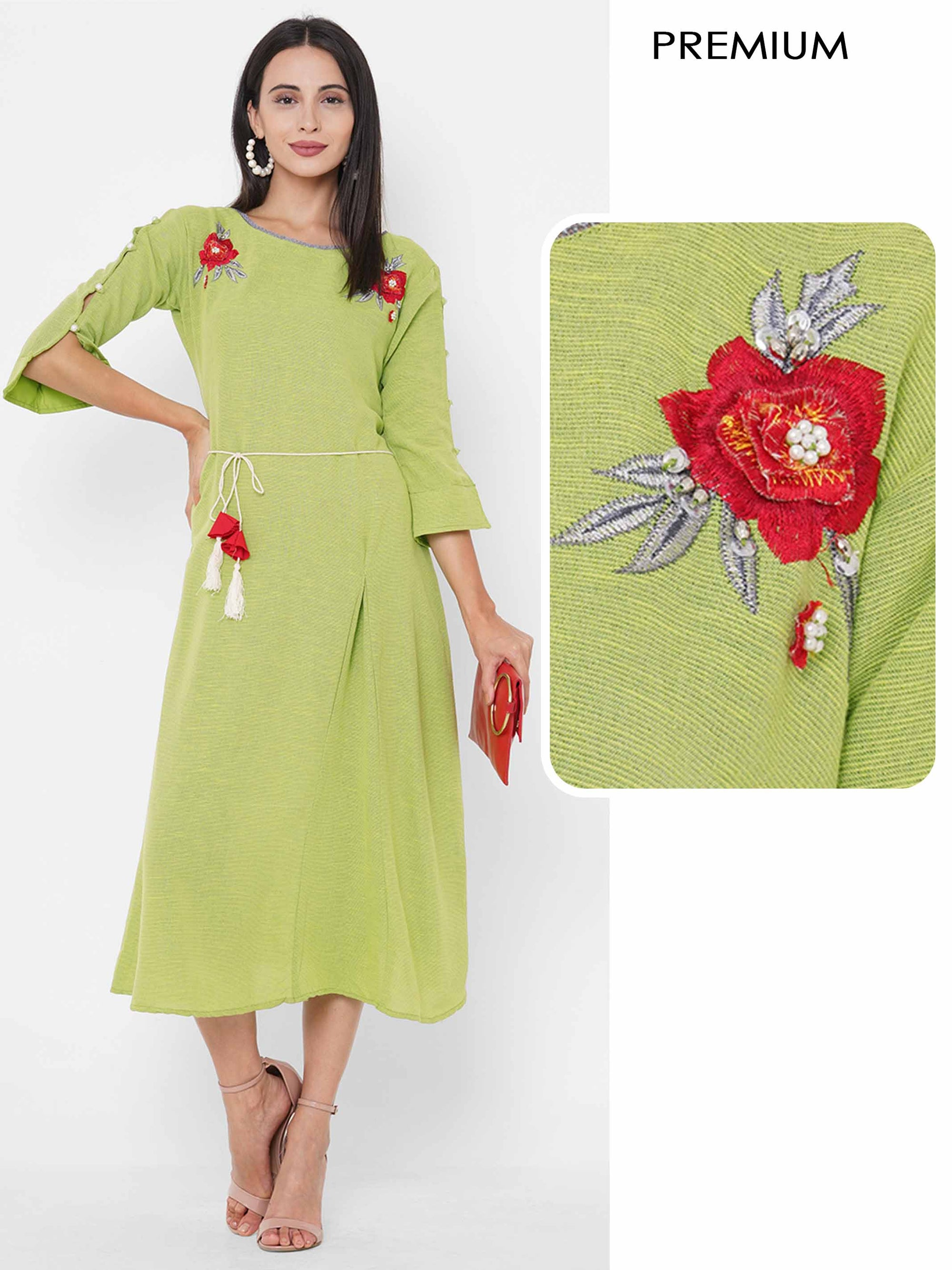 Floral Embroidered & Woven Textured Kurta - Green