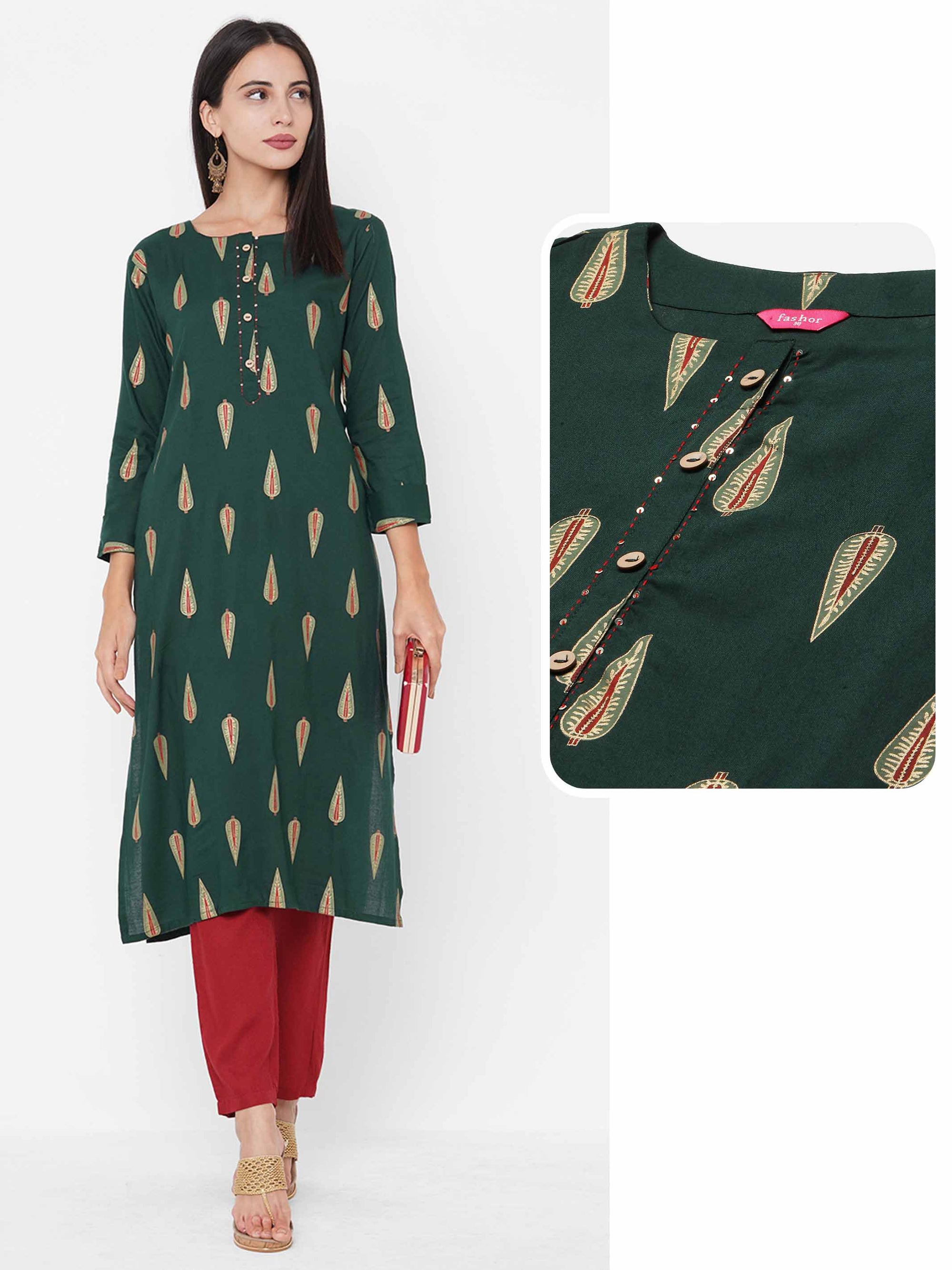 Leaf Foil Printed Straight Kurta - Dark Green
