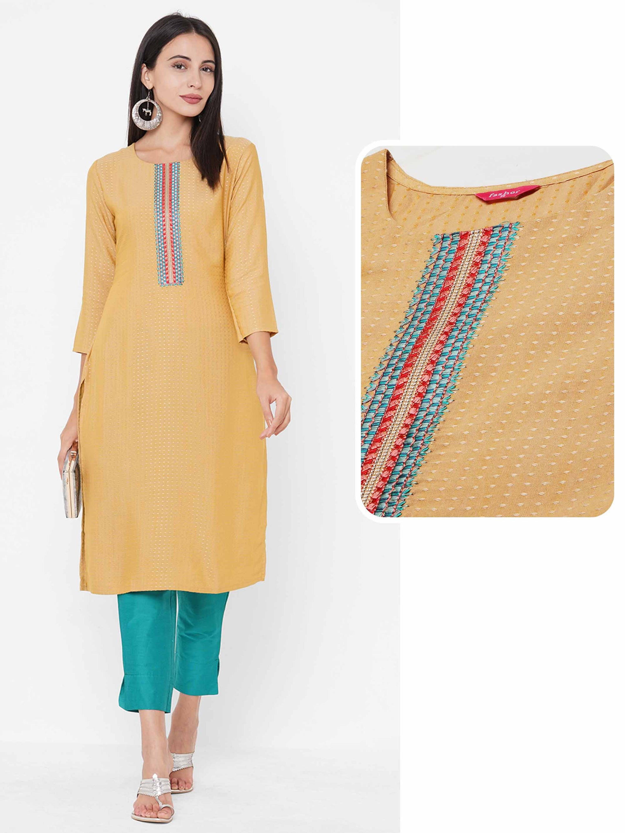 Woven Pattern & Minimal Embroidered Yoke Straight Kurta - Yellow