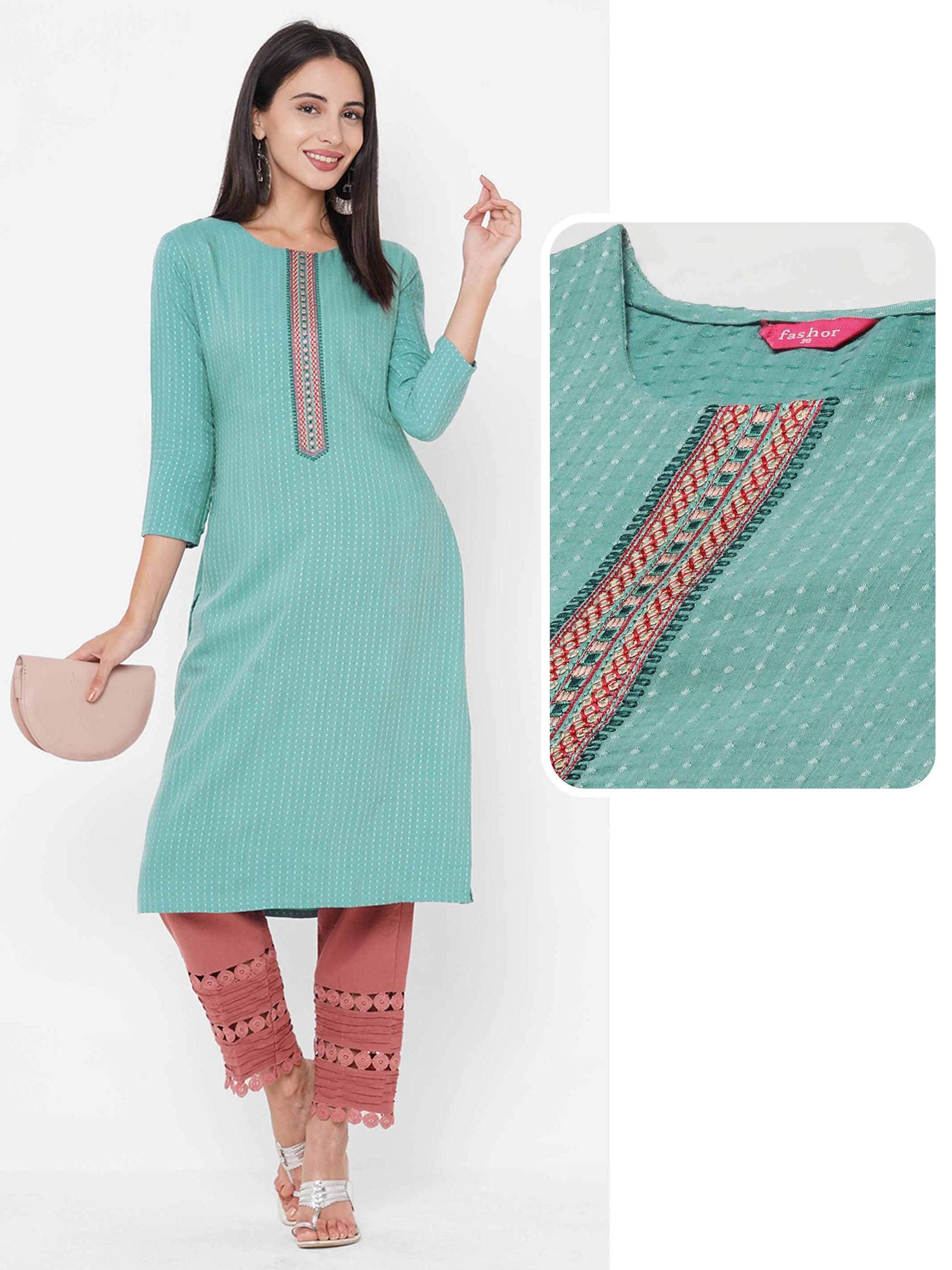 Ethnic Embroidered Straight Kurta - Mint Green